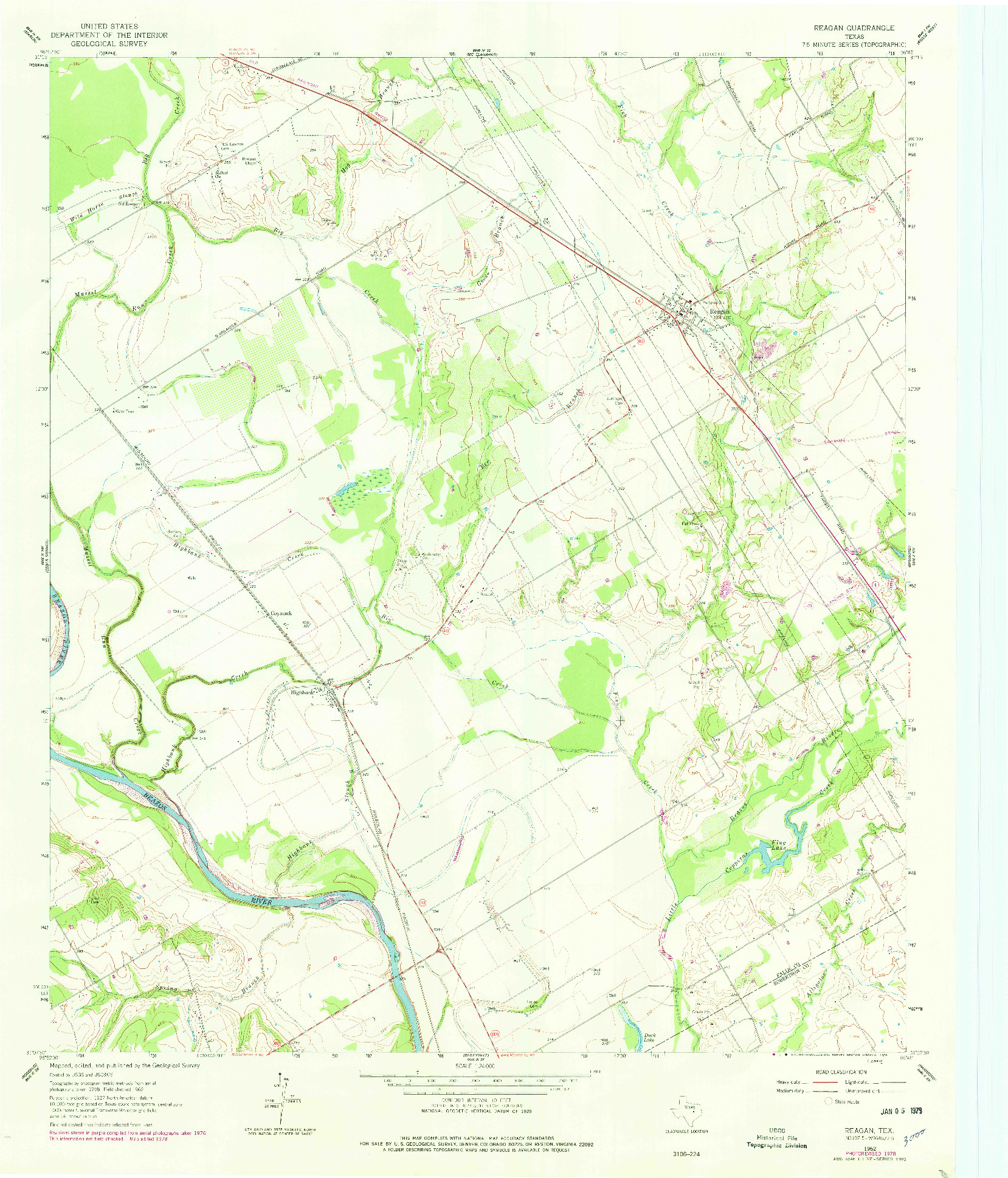 USGS 1:24000-SCALE QUADRANGLE FOR REAGAN, TX 1962