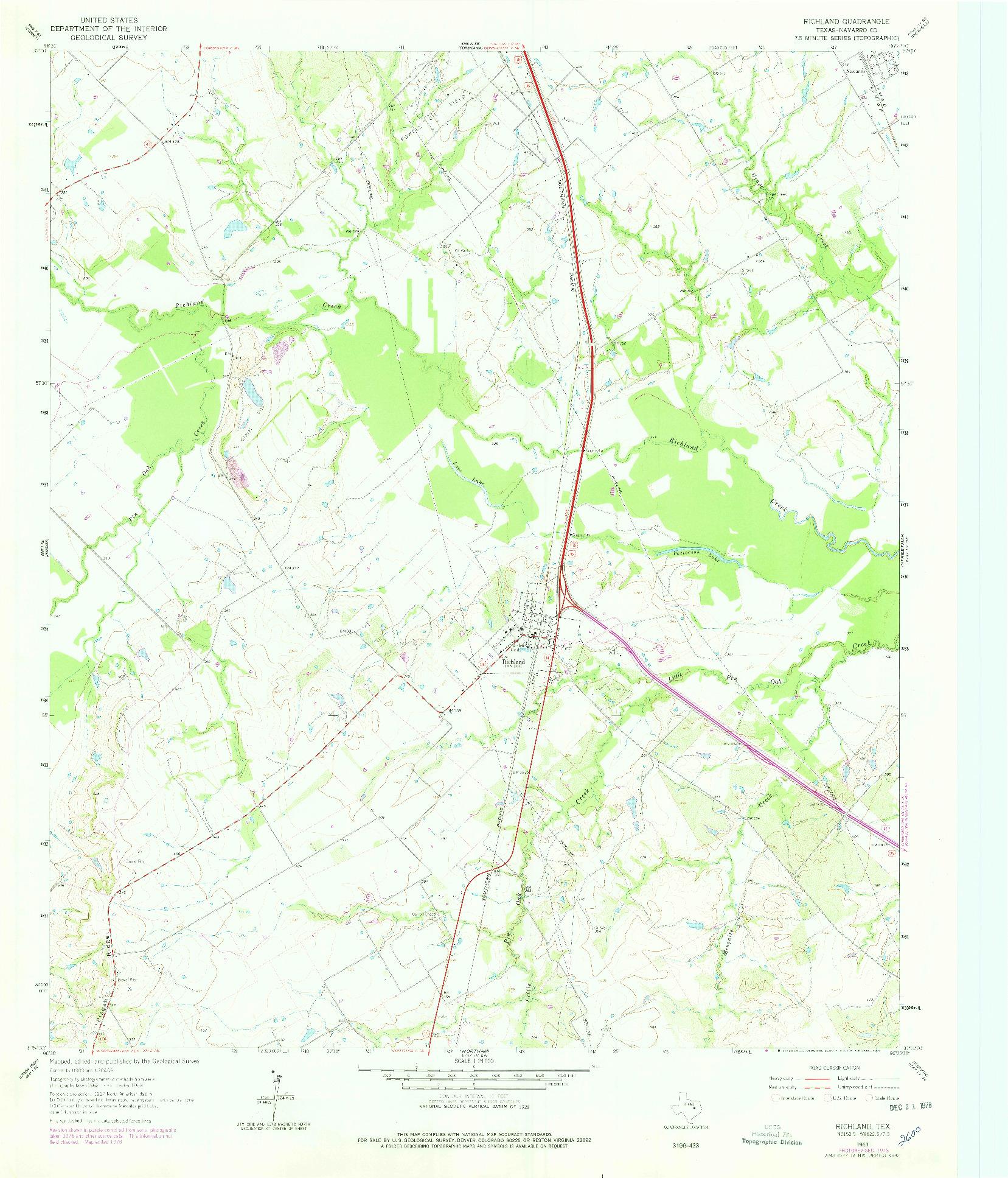 USGS 1:24000-SCALE QUADRANGLE FOR RICHLAND, TX 1963
