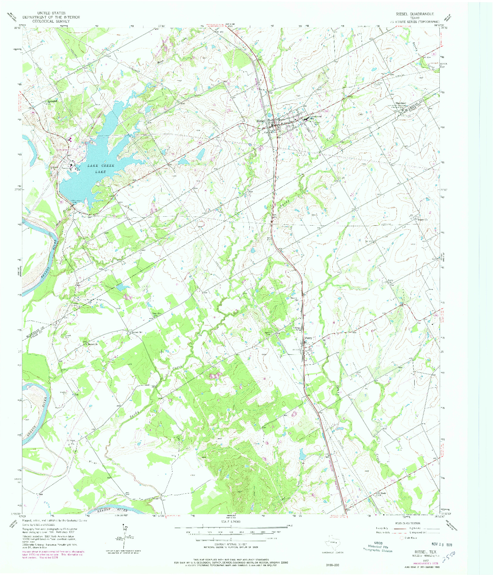 USGS 1:24000-SCALE QUADRANGLE FOR RIESEL, TX 1957
