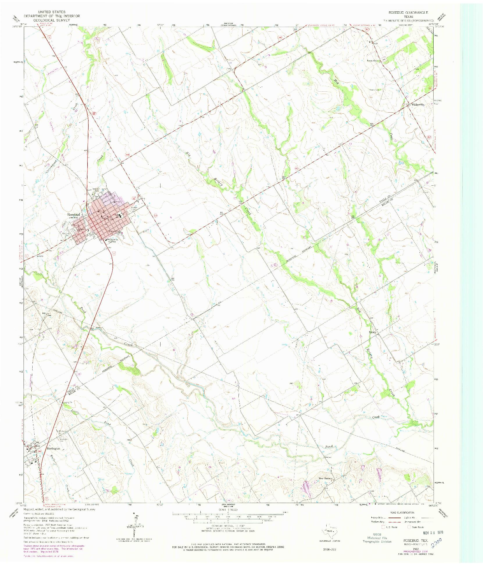 USGS 1:24000-SCALE QUADRANGLE FOR ROSEBUD, TX 1962