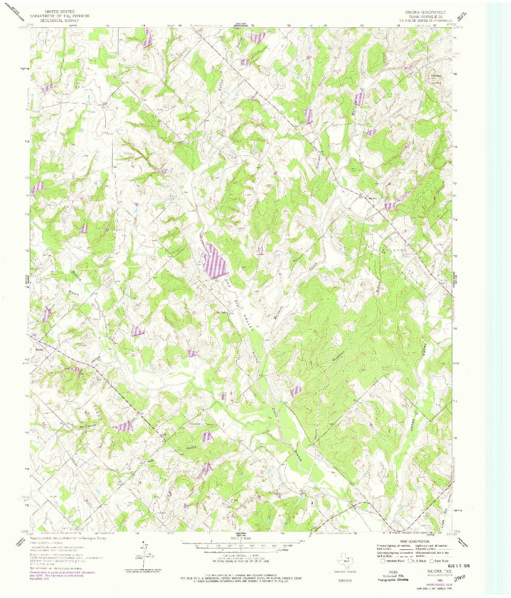 USGS 1:24000-SCALE QUADRANGLE FOR SALONA, TX 1961