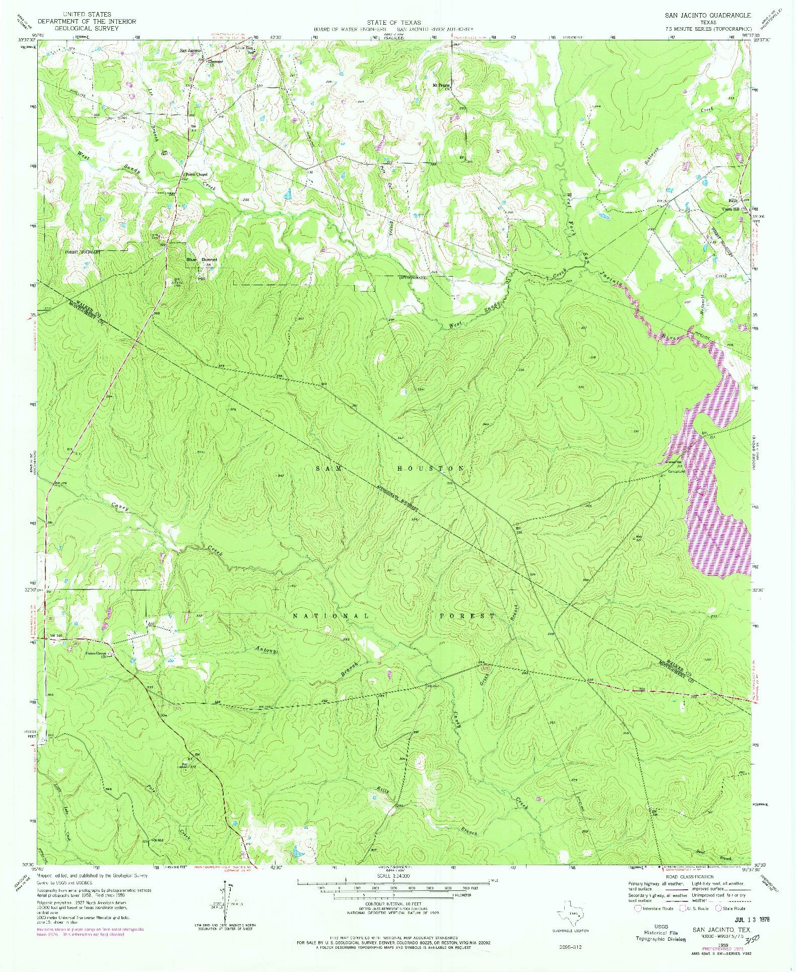 USGS 1:24000-SCALE QUADRANGLE FOR SAN JACINTO, TX 1959