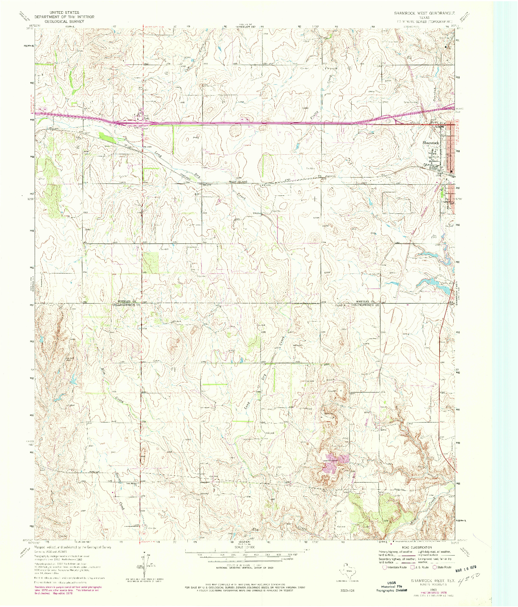 USGS 1:24000-SCALE QUADRANGLE FOR SHAMROCK WEST, TX 1963