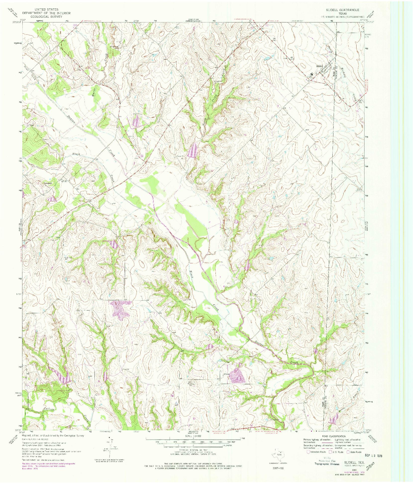 USGS 1:24000-SCALE QUADRANGLE FOR SLIDELL, TX 1961