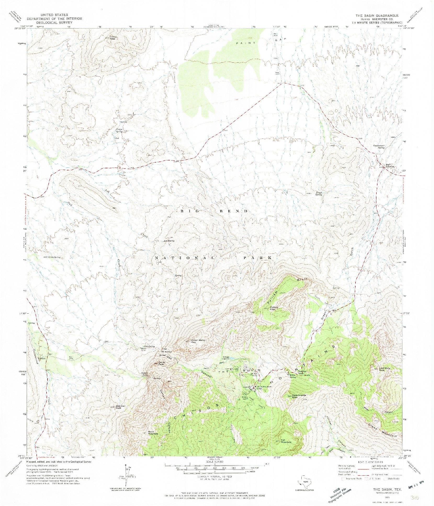 USGS 1:24000-SCALE QUADRANGLE FOR THE BASIN, TX 1971