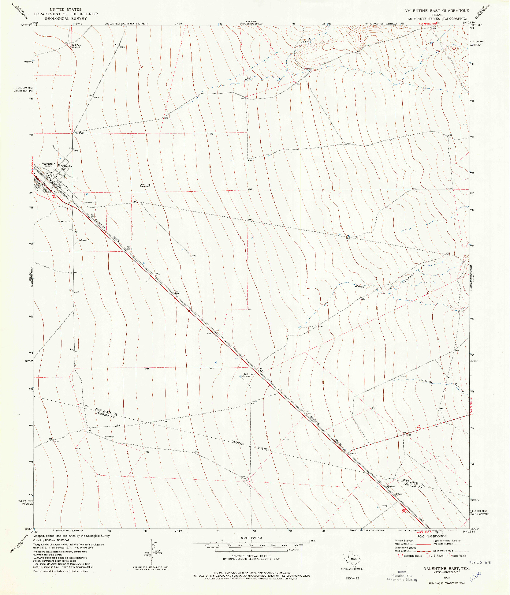 USGS 1:24000-SCALE QUADRANGLE FOR VALENTINE EAST, TX 1978