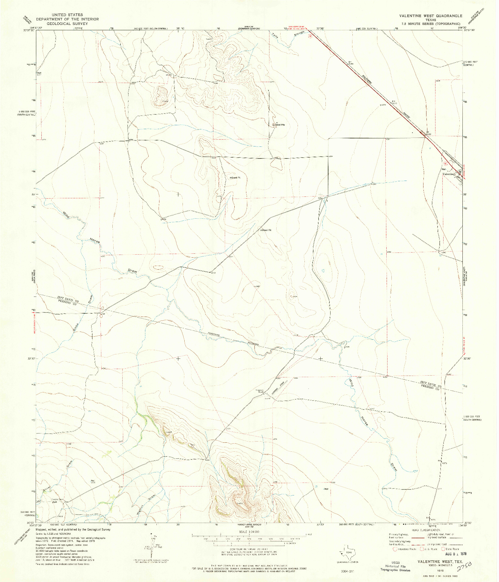 USGS 1:24000-SCALE QUADRANGLE FOR VALENTINE WEST, TX 1978