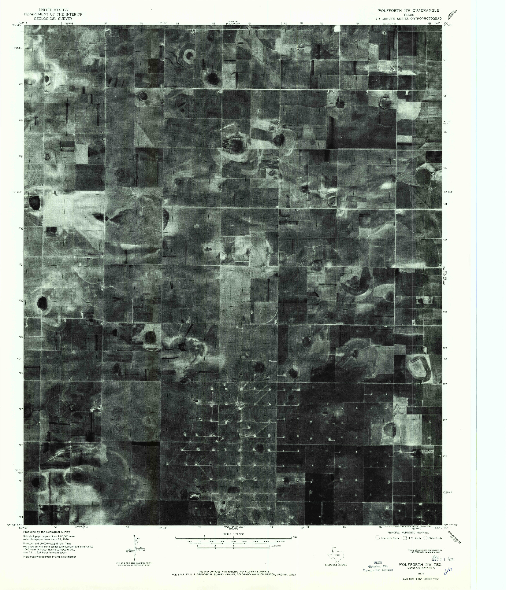 USGS 1:24000-SCALE QUADRANGLE FOR WOLFFORTH NW, TX 1976