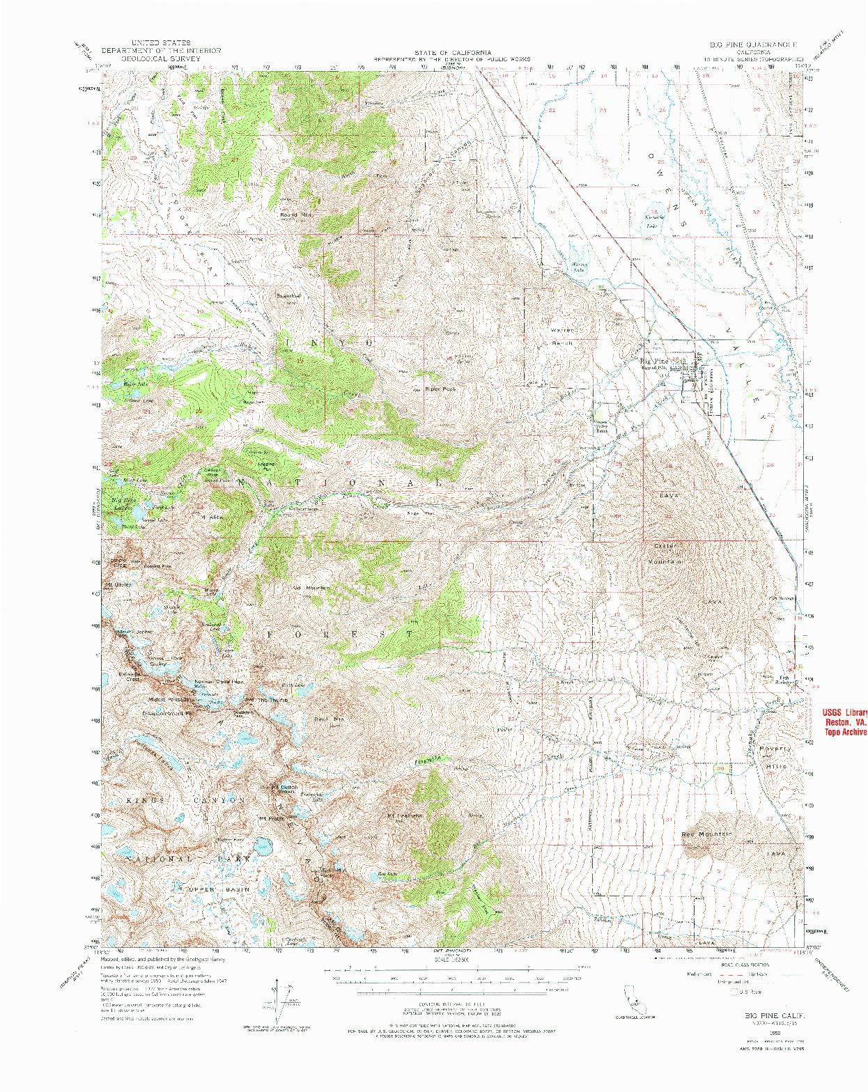 USGS 1:62500-SCALE QUADRANGLE FOR BIG PINE, CA 1950