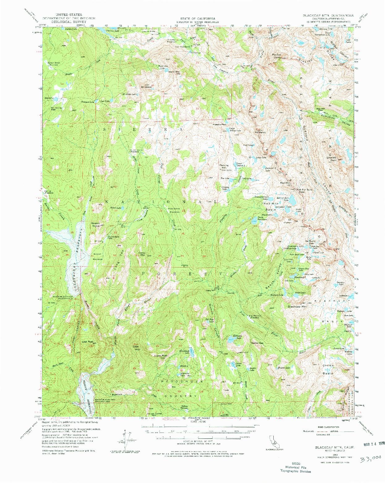USGS 1:62500-SCALE QUADRANGLE FOR BLACKCAP MTN, CA 1962
