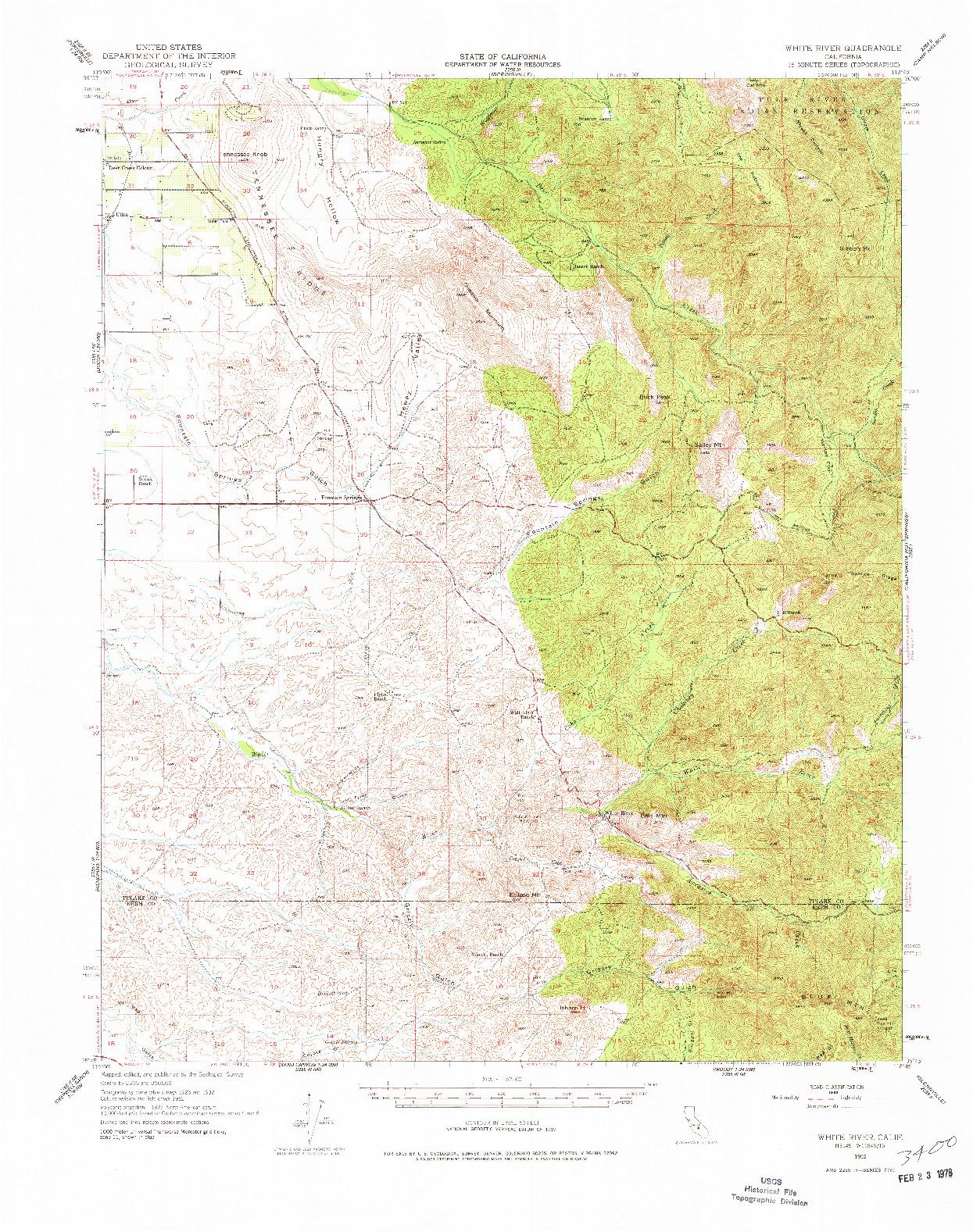 USGS 1:62500-SCALE QUADRANGLE FOR WHITE RIVER, CA 1952