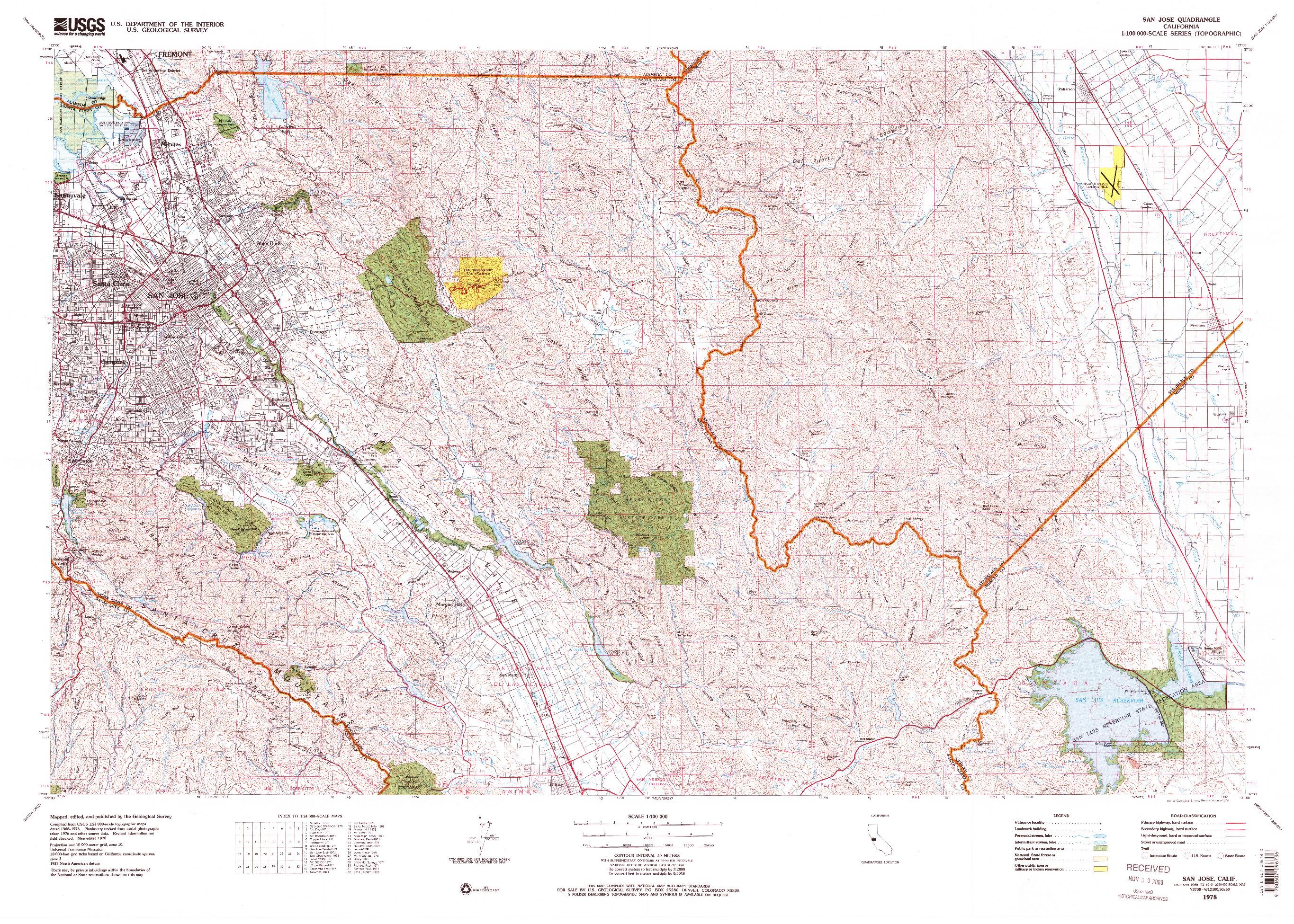 USGS 1:100000-SCALE QUADRANGLE FOR SAN JOSE, CA 1978