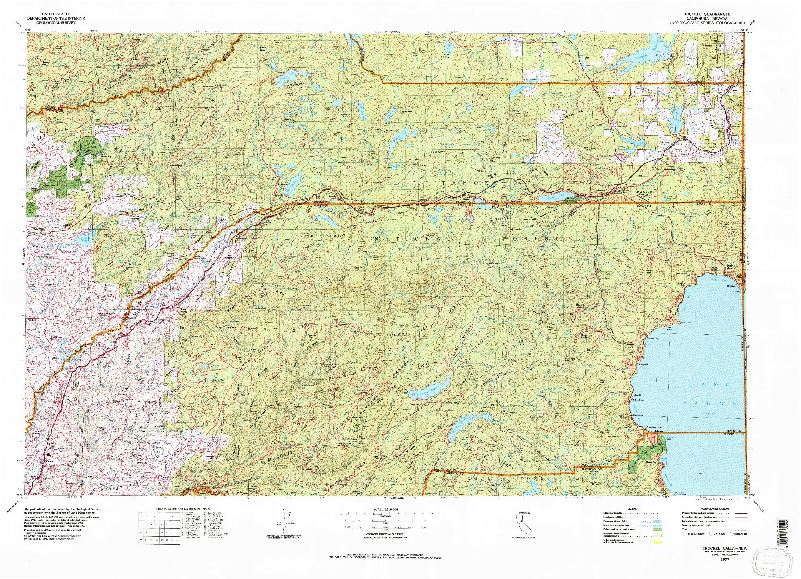 USGS 1:100000-SCALE QUADRANGLE FOR TRUCKEE, CA 1977