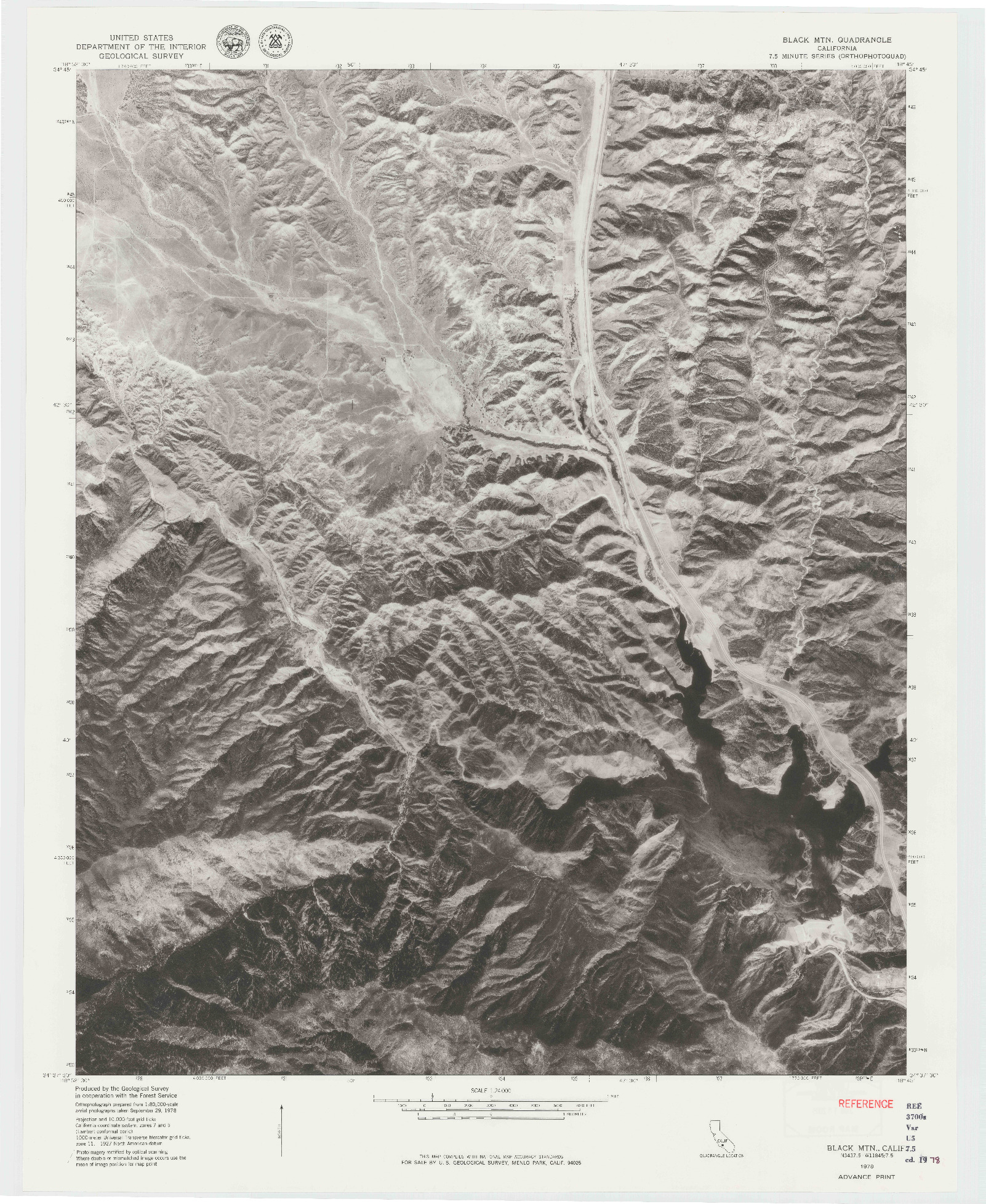 USGS 1:24000-SCALE QUADRANGLE FOR BLACK MTN, CA 1978
