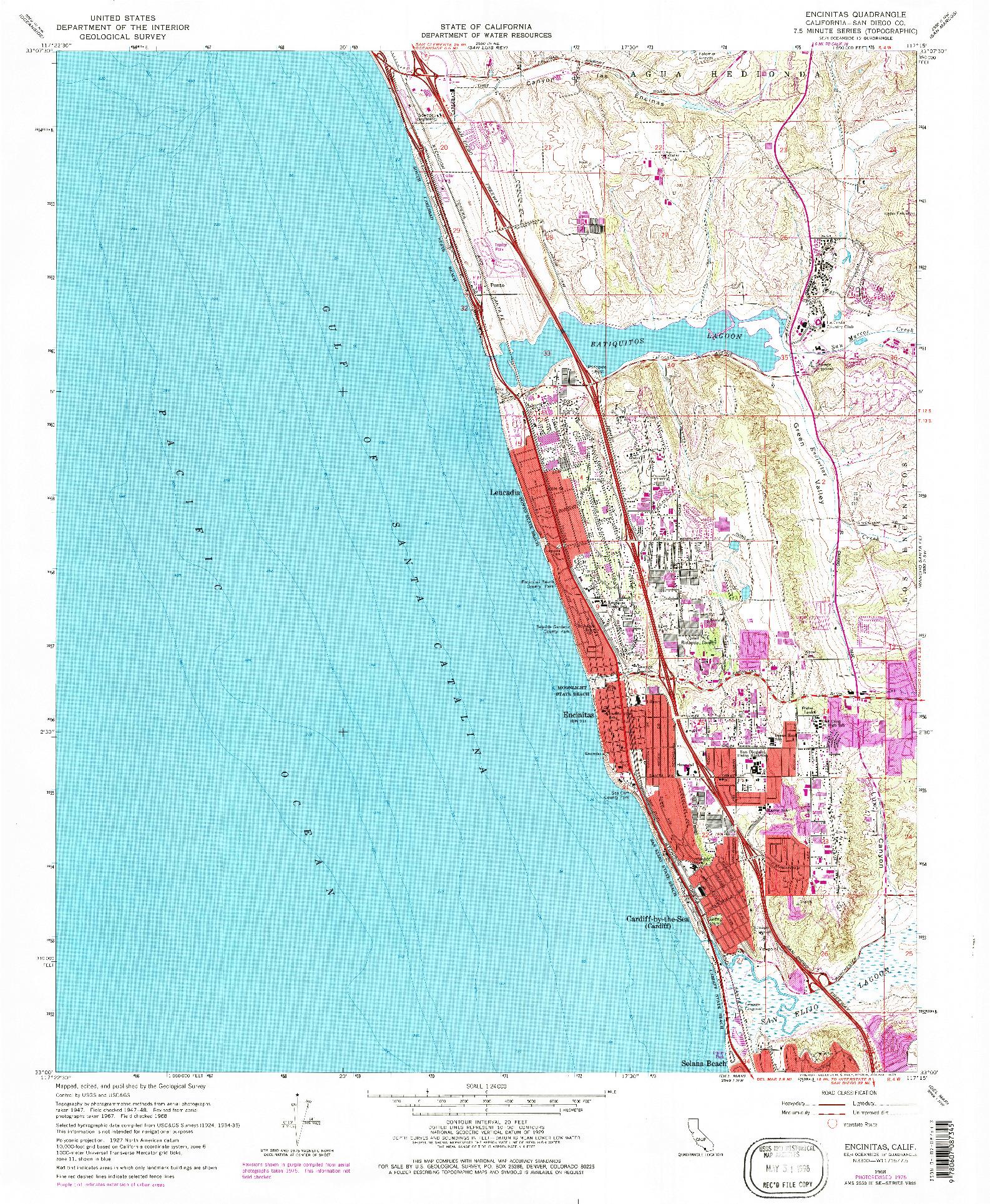 USGS 1:24000-SCALE QUADRANGLE FOR ENCINITAS, CA 1968