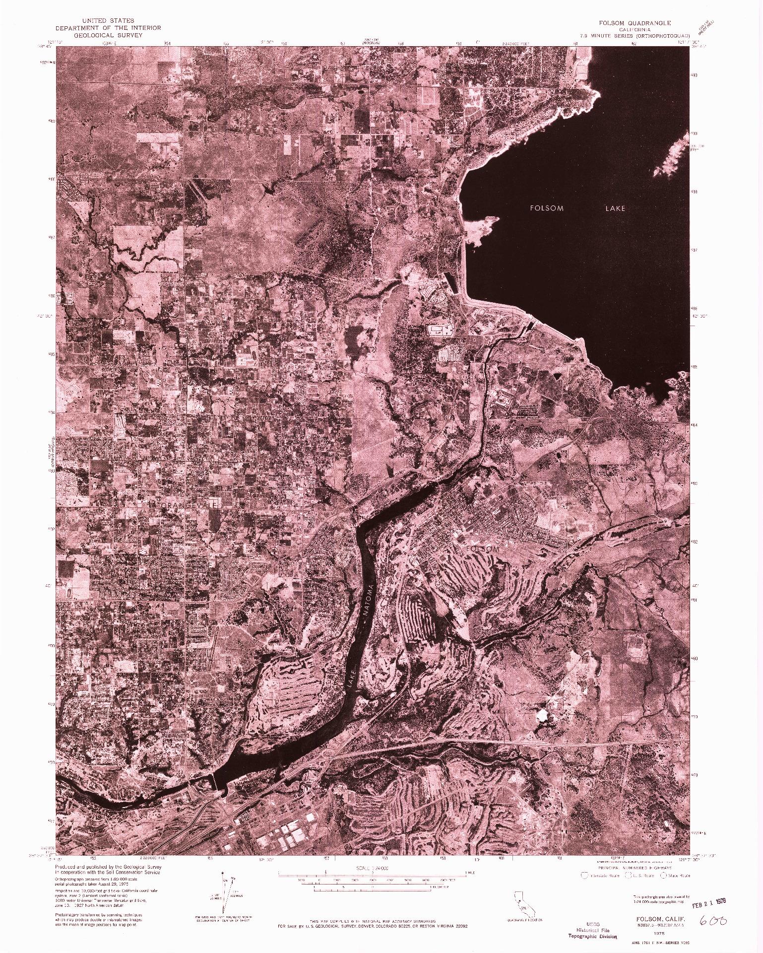 USGS 1:24000-SCALE QUADRANGLE FOR FOLSOM, CA 1975