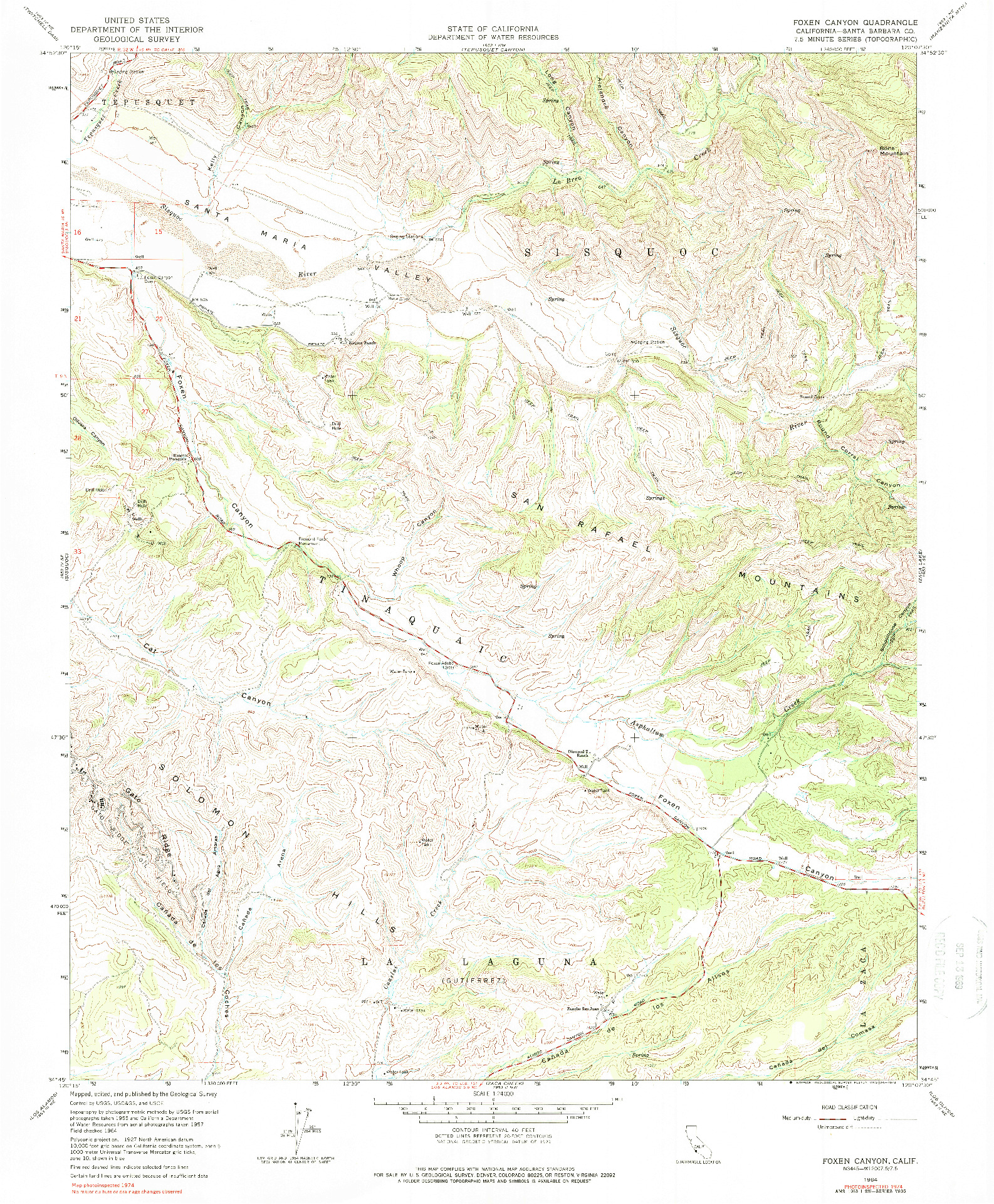 USGS 1:24000-SCALE QUADRANGLE FOR FOXEN CANYON, CA 1964
