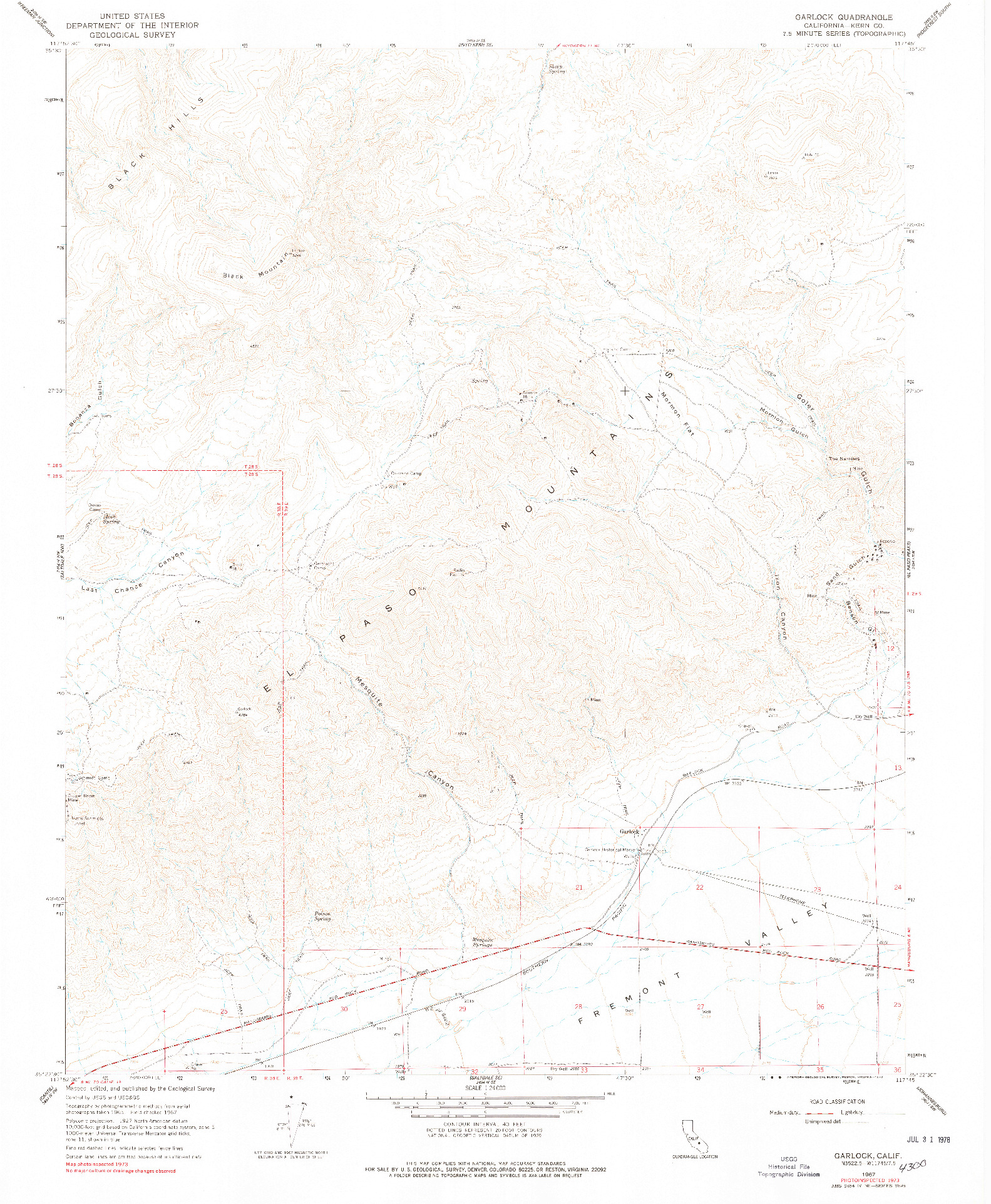 USGS 1:24000-SCALE QUADRANGLE FOR GARLOCK, CA 1967