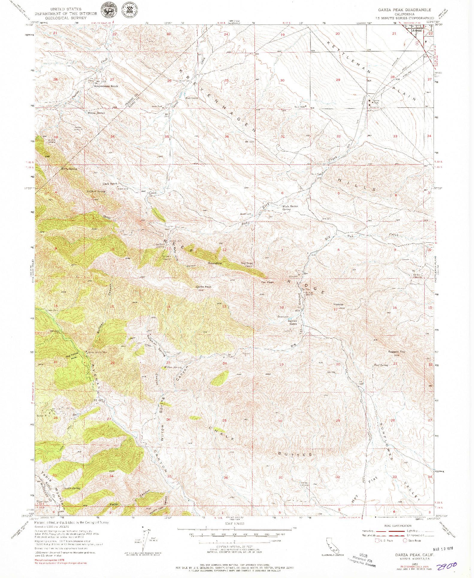 USGS 1:24000-SCALE QUADRANGLE FOR GARZA PEAK, CA 1953