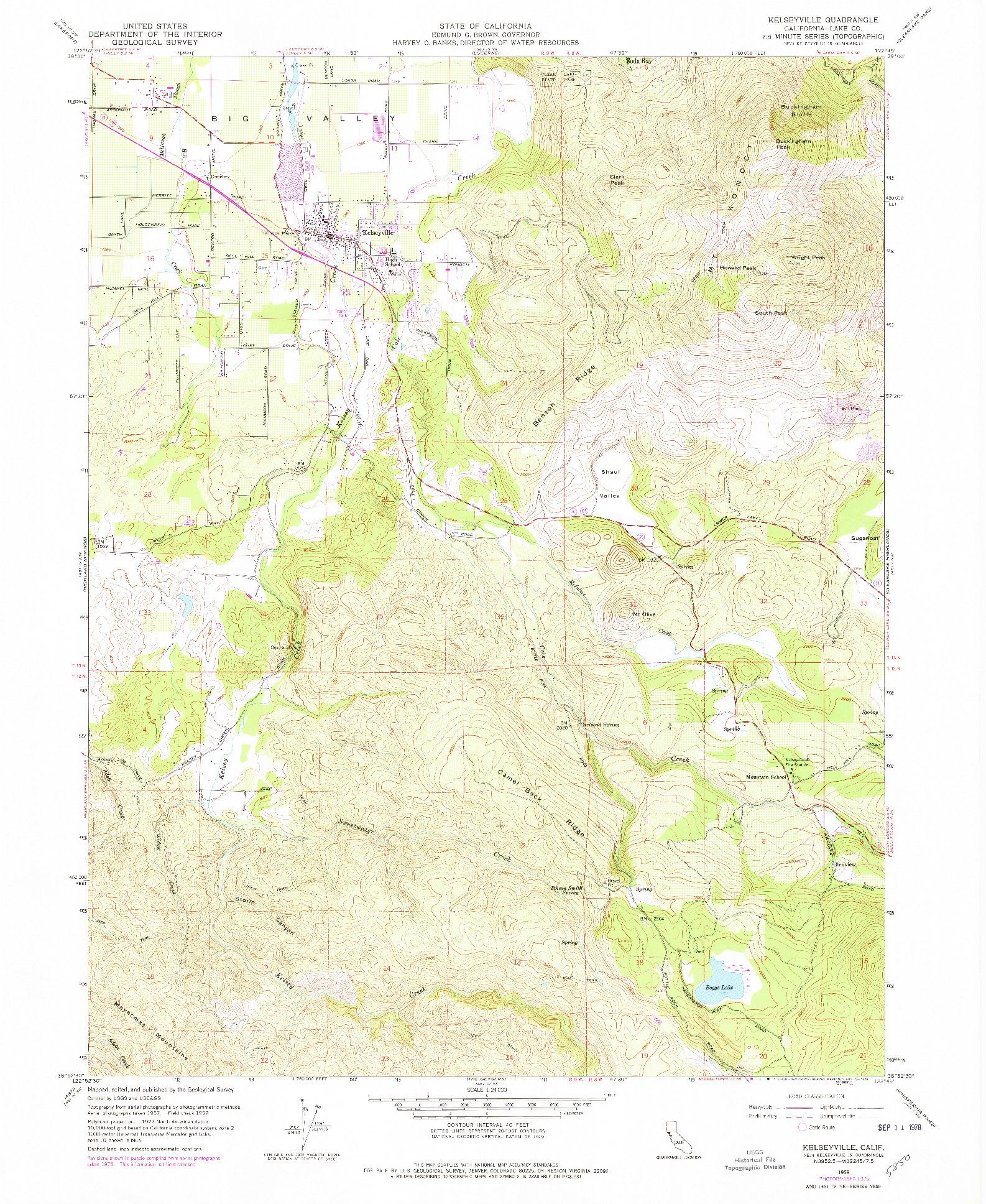 USGS 1:24000-SCALE QUADRANGLE FOR KELSEYVILLE, CA 1959