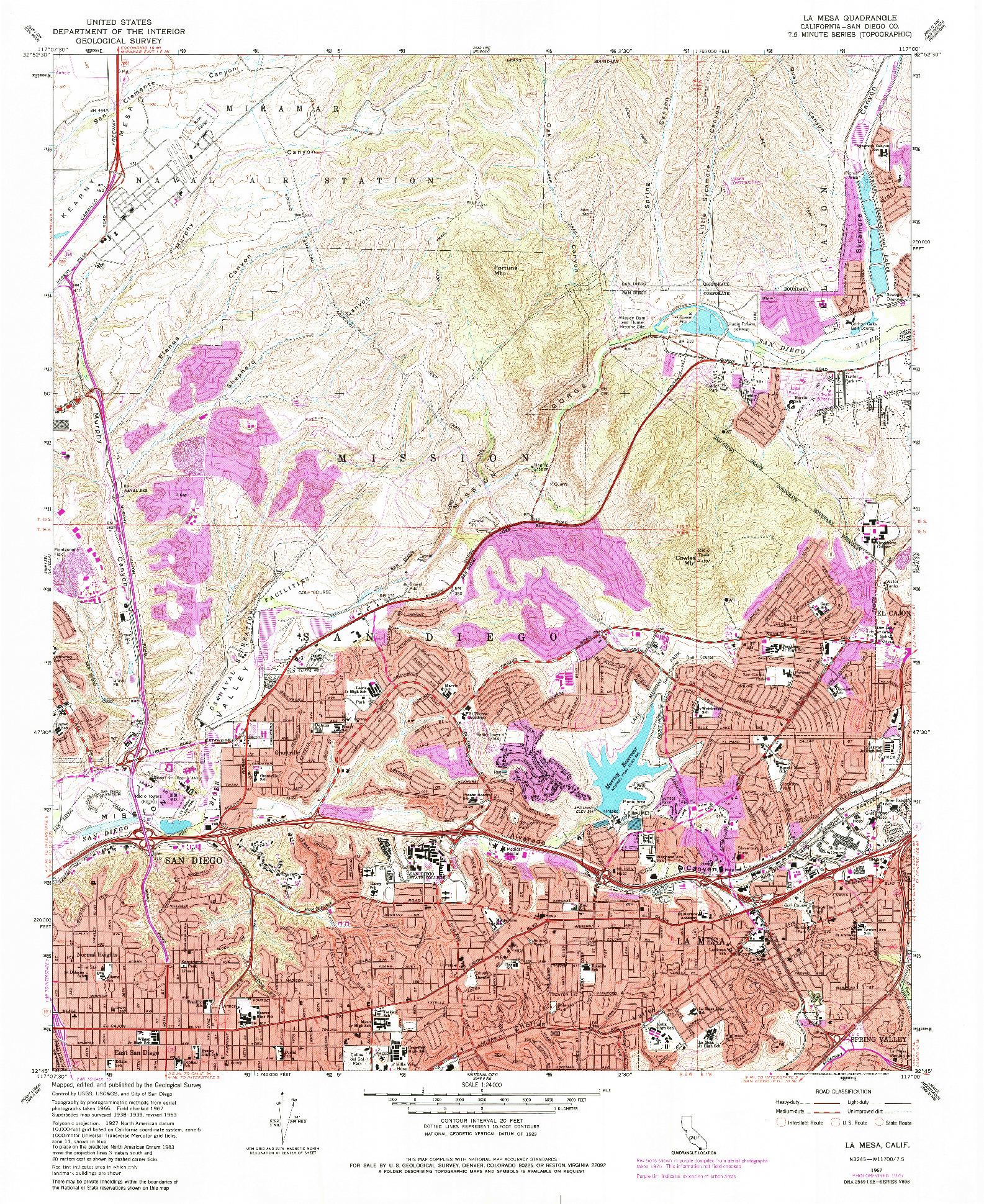 USGS 1:24000-SCALE QUADRANGLE FOR LA MESA, CA 1967