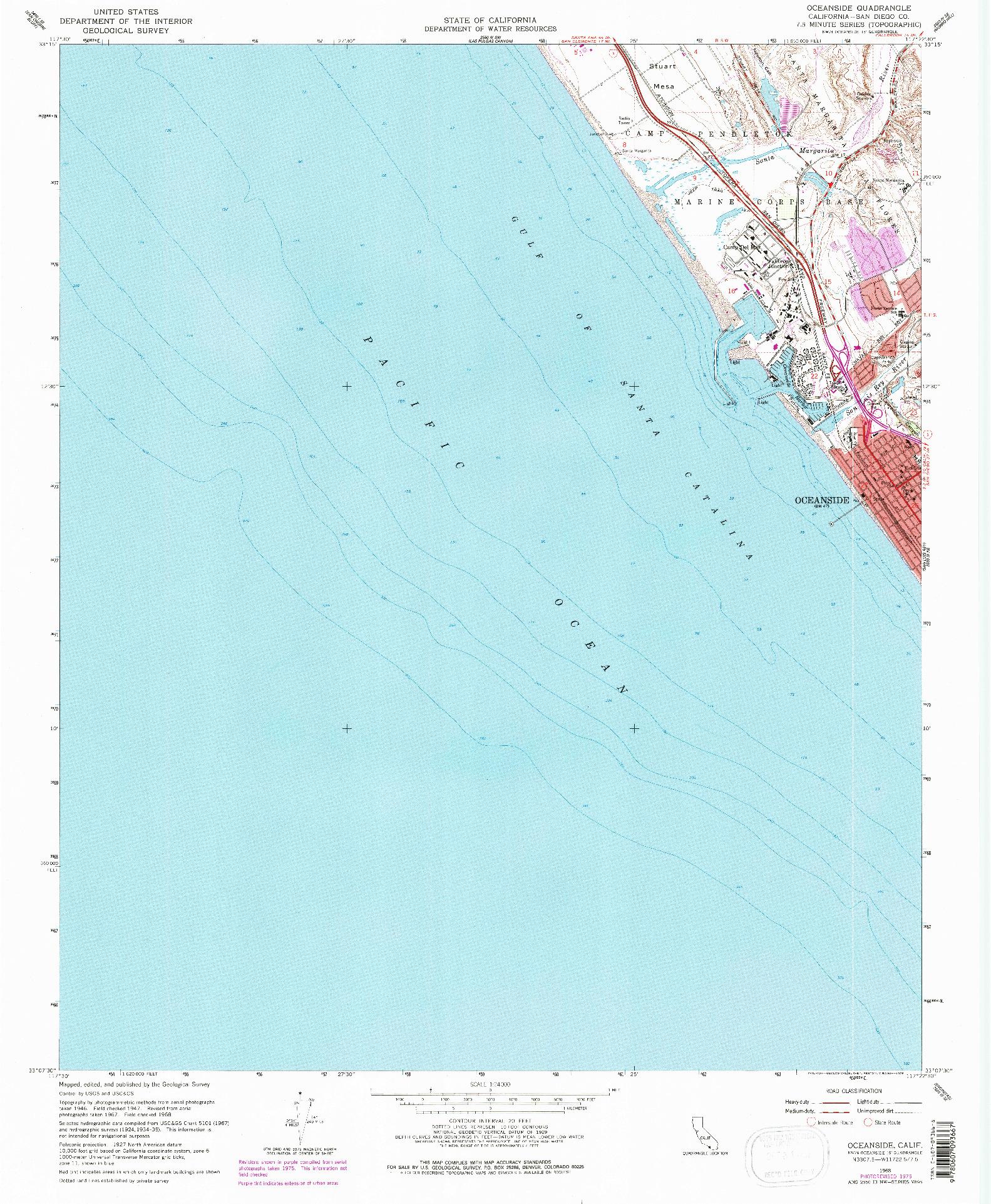USGS 1:24000-SCALE QUADRANGLE FOR OCEANSIDE, CA 1968