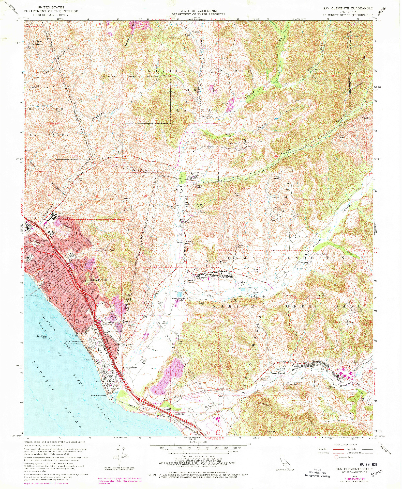 USGS 1:24000-SCALE QUADRANGLE FOR SAN CLEMENTE, CA 1968