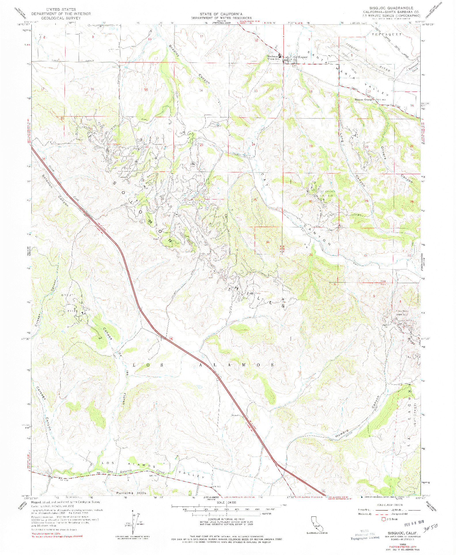 USGS 1:24000-SCALE QUADRANGLE FOR SISQUOC, CA 1959