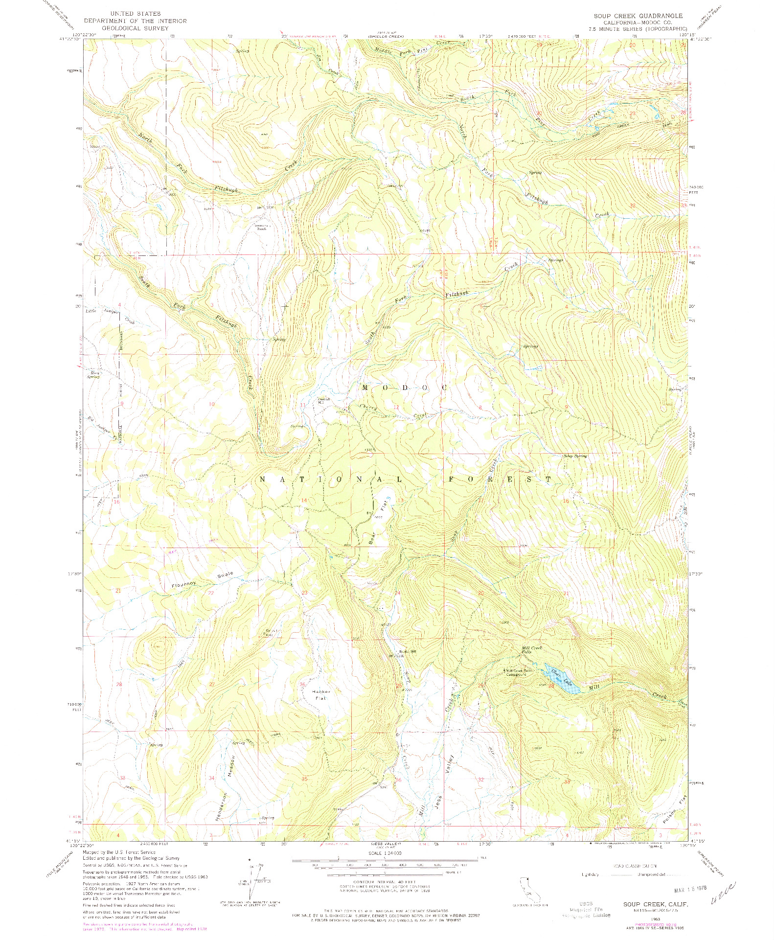 USGS 1:24000-SCALE QUADRANGLE FOR SOUP CREEK, CA 1963
