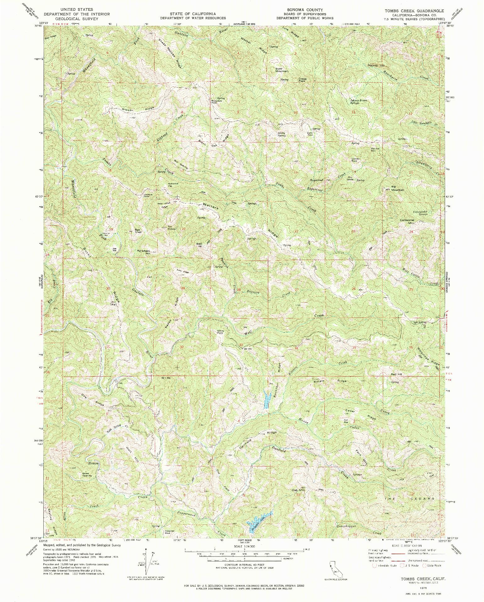 USGS 1:24000-SCALE QUADRANGLE FOR TOMBS CREEK, CA 1978