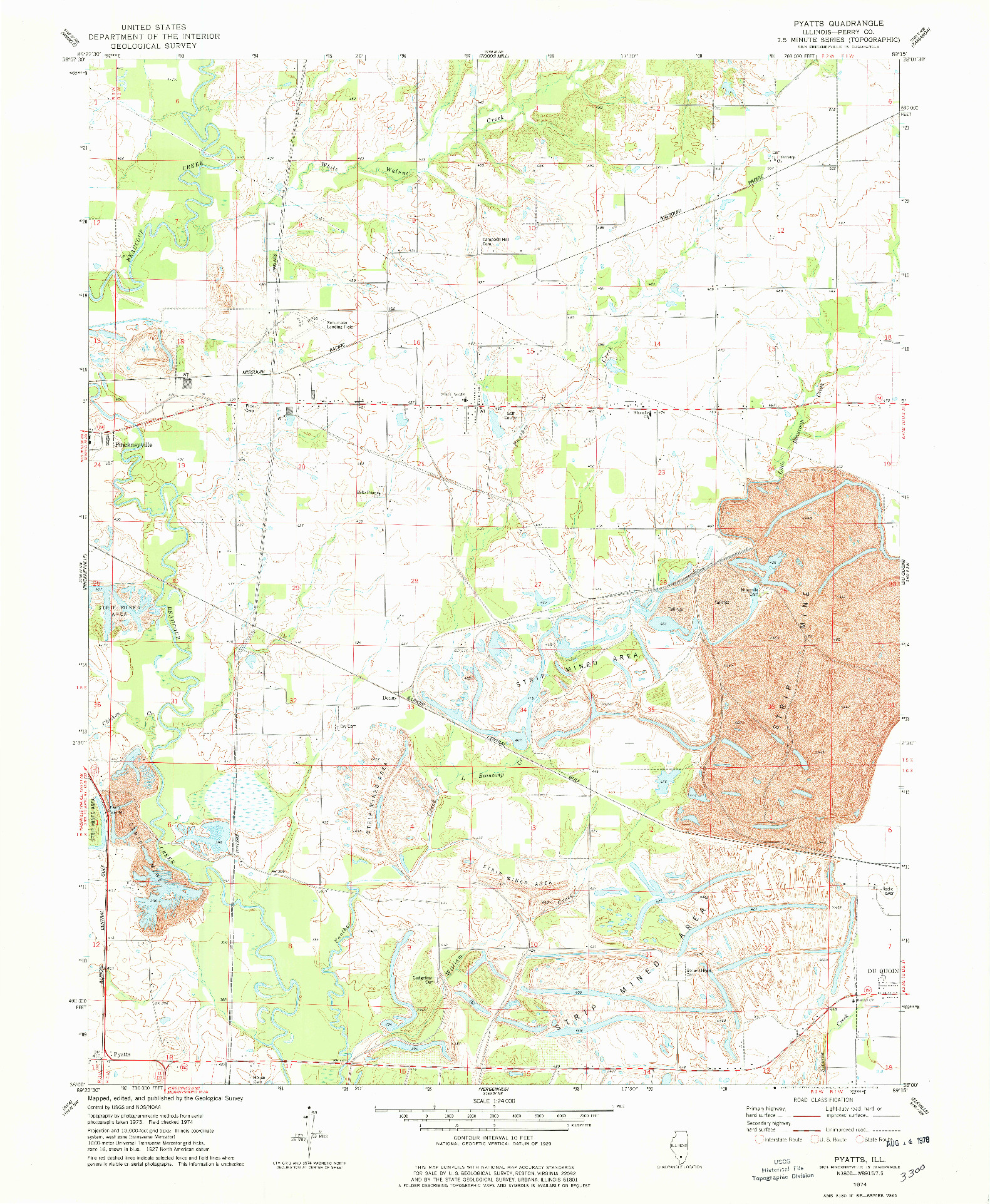 USGS 1:24000-SCALE QUADRANGLE FOR PYATTS, IL 1974
