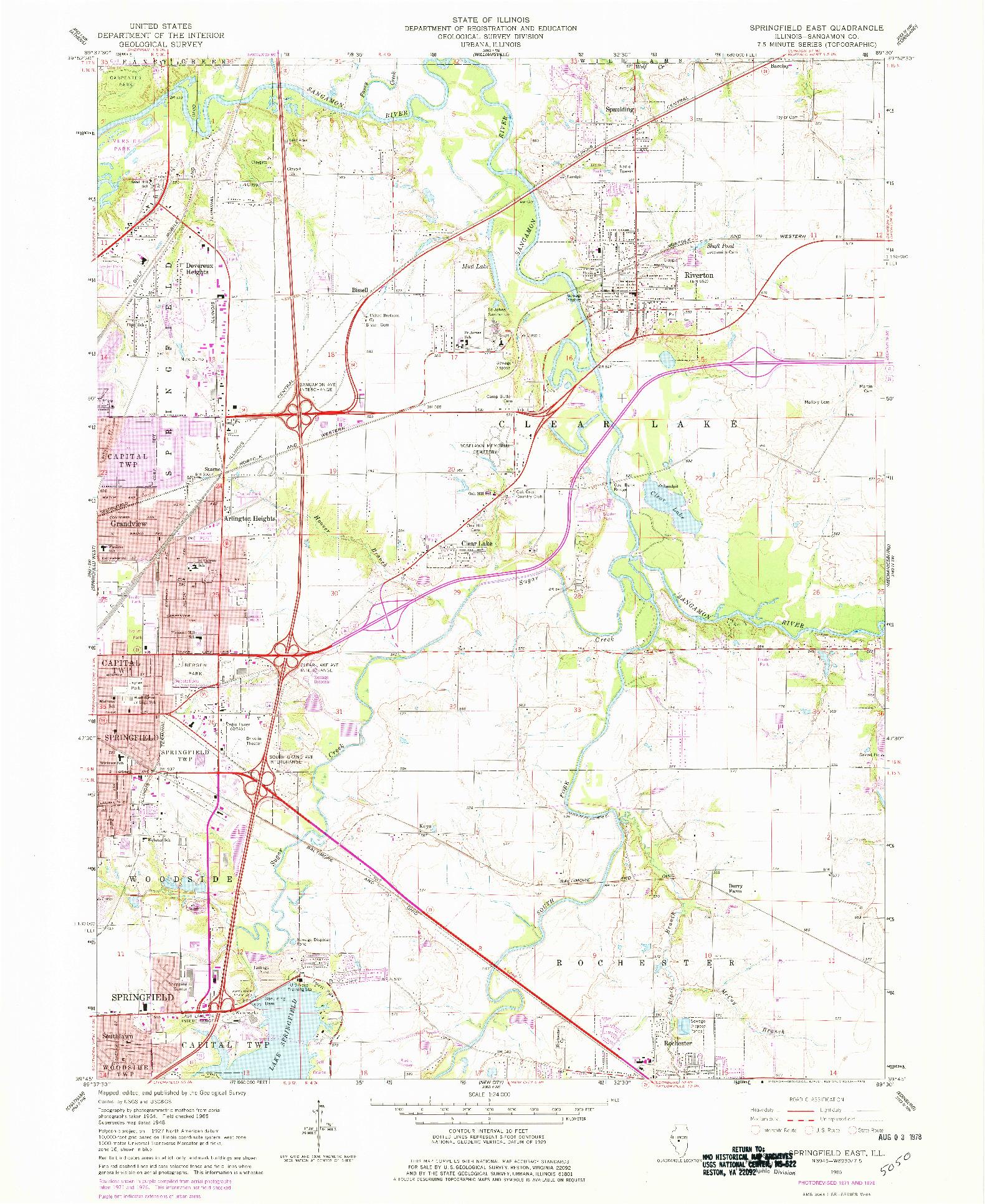 USGS 1:24000-SCALE QUADRANGLE FOR SPRINGFIELD EAST, IL 1965