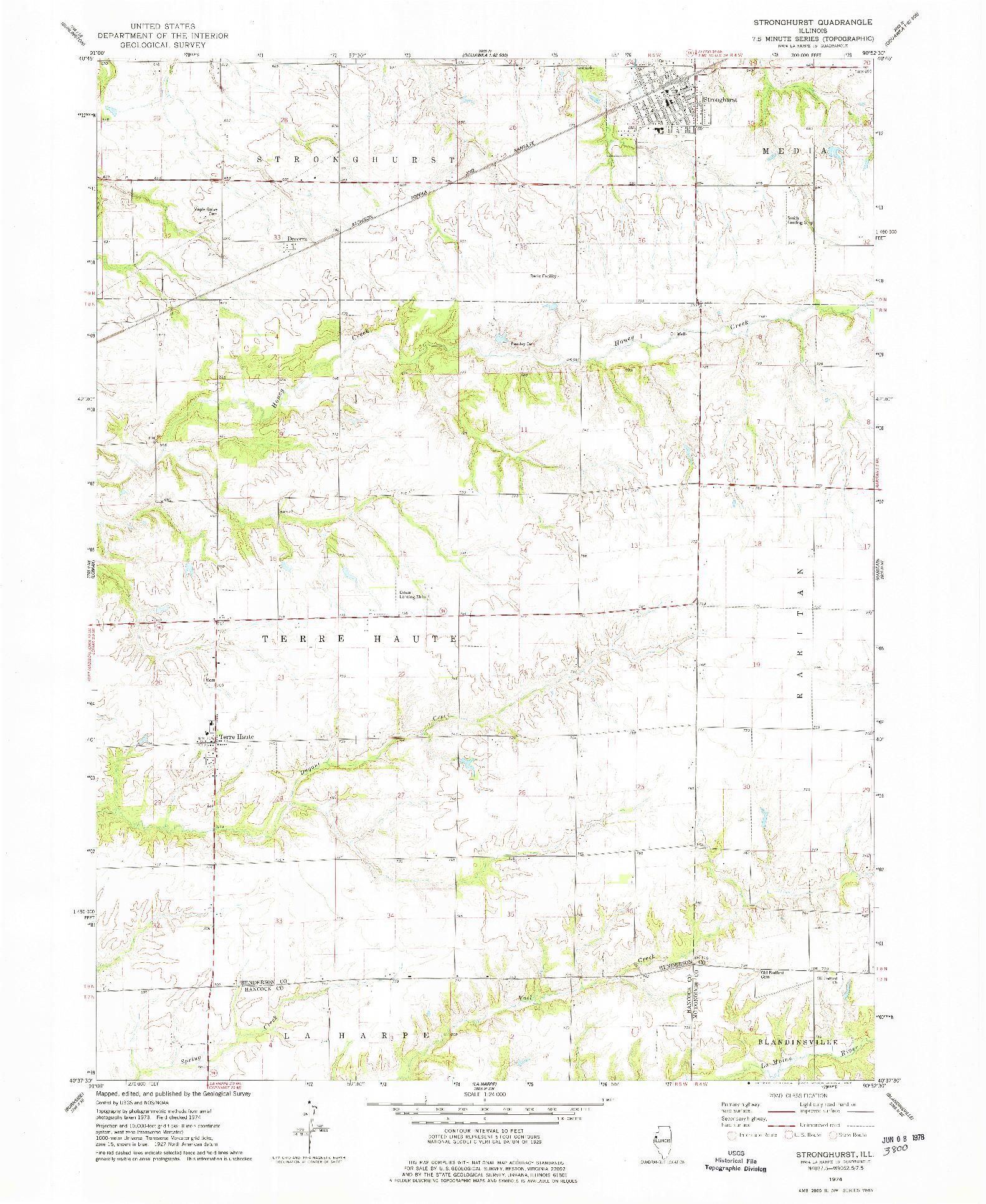 USGS 1:24000-SCALE QUADRANGLE FOR STRONGHURST, IL 1974