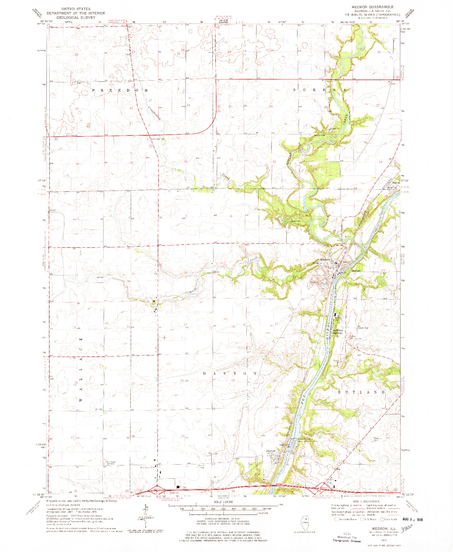 USGS 1:24000-SCALE QUADRANGLE FOR WEDRON, IL 1970