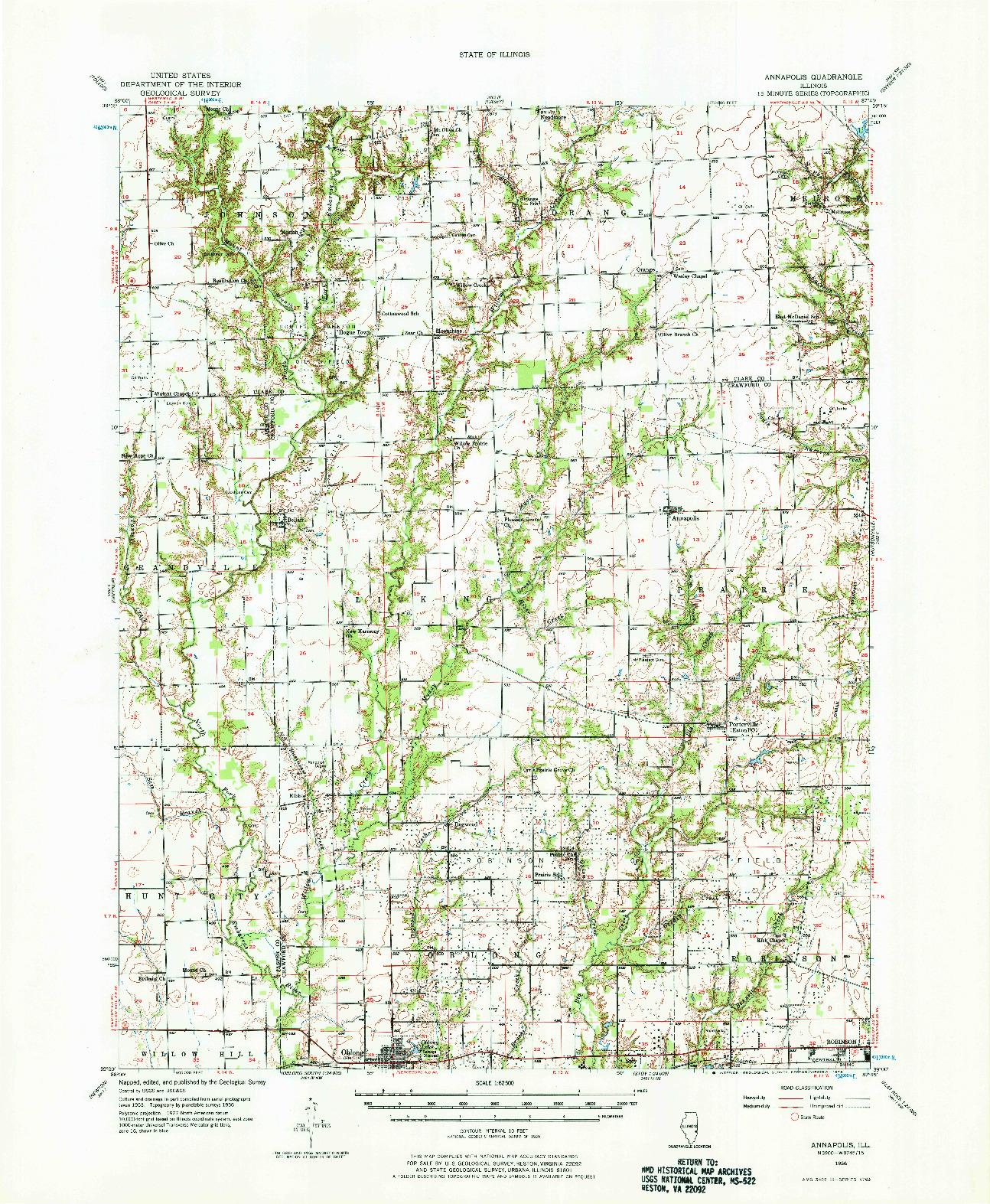 USGS 1:62500-SCALE QUADRANGLE FOR ANNAPOLIS, IL 1956