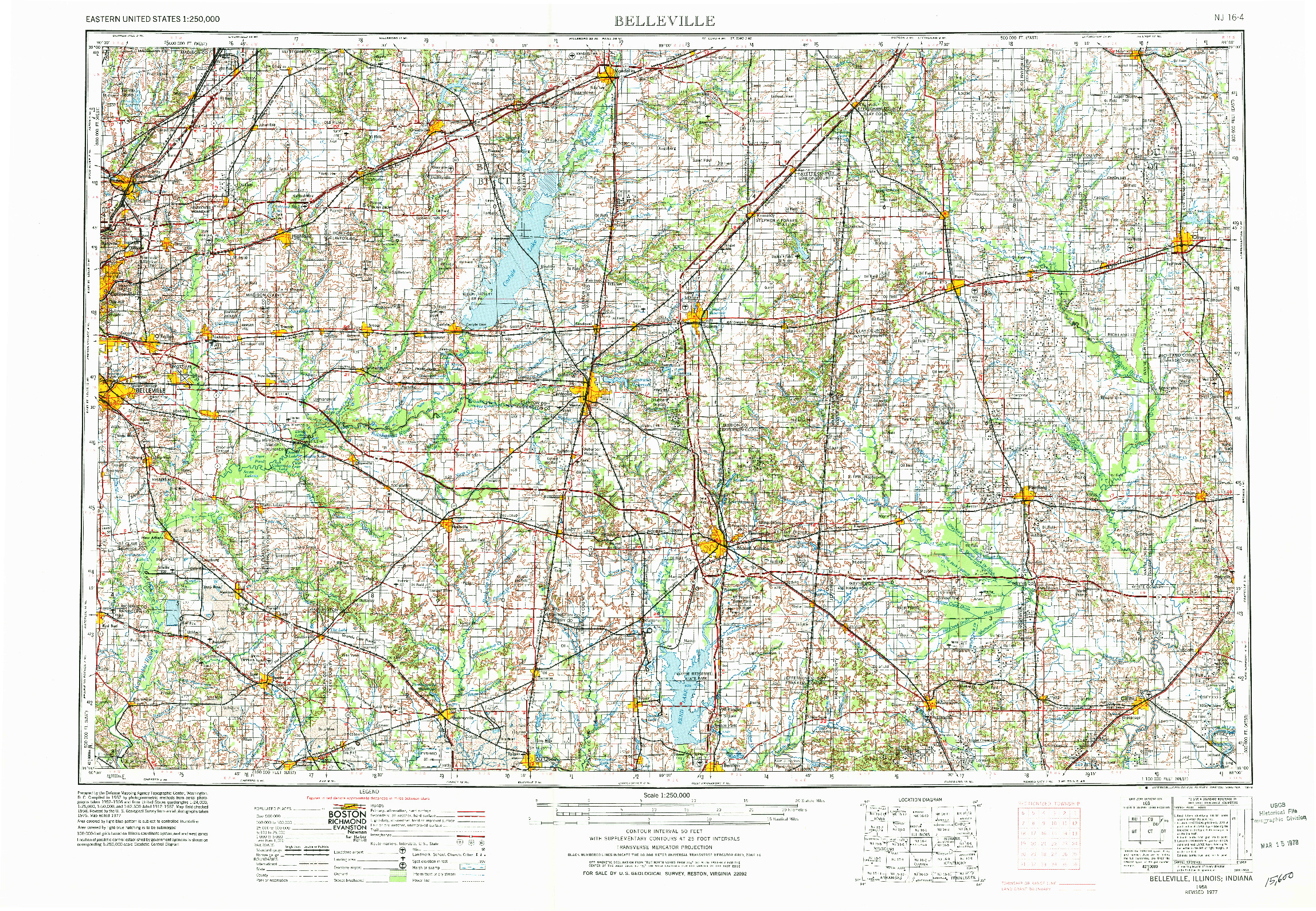 USGS 1:250000-SCALE QUADRANGLE FOR BELLEVILLE, IL 1958