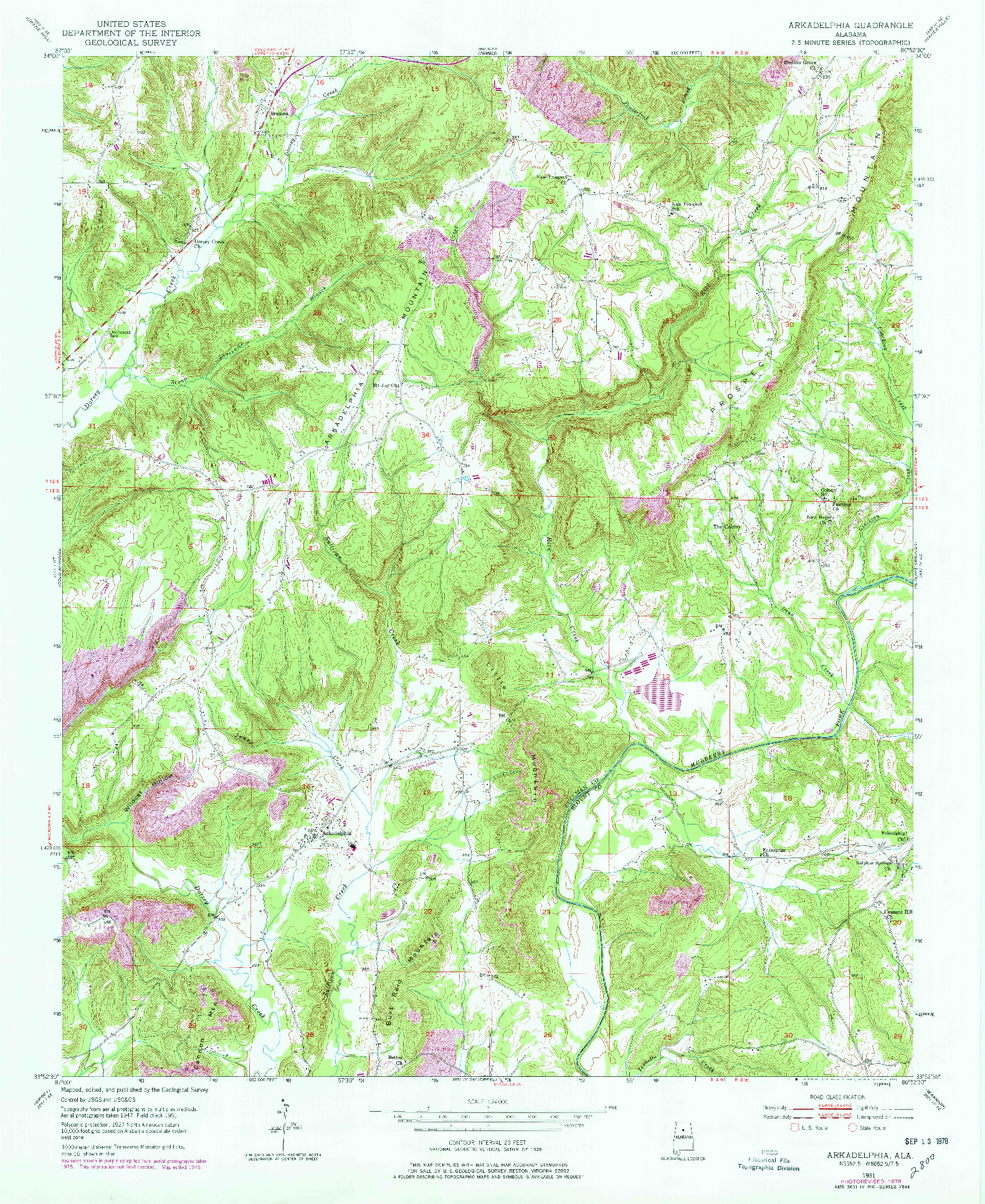 USGS 1:24000-SCALE QUADRANGLE FOR ARKADELPHIA, AL 1951