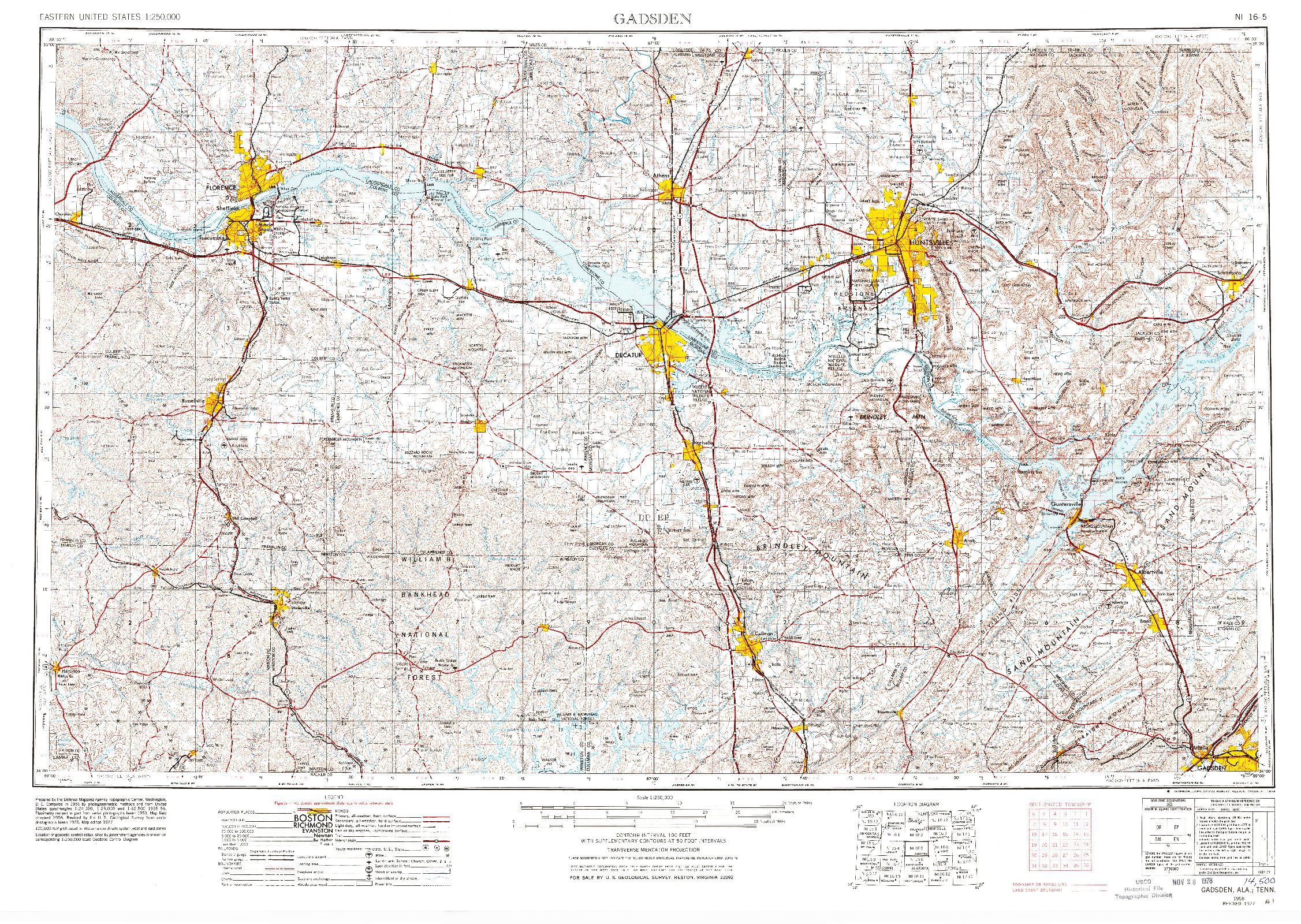 USGS 1:250000-SCALE QUADRANGLE FOR GADSDEN, AL 1956