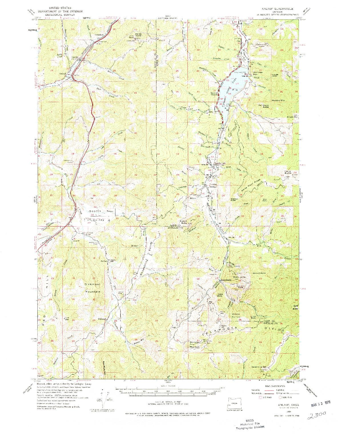 USGS 1:62500-SCALE QUADRANGLE FOR ANLAUF, OR 1954