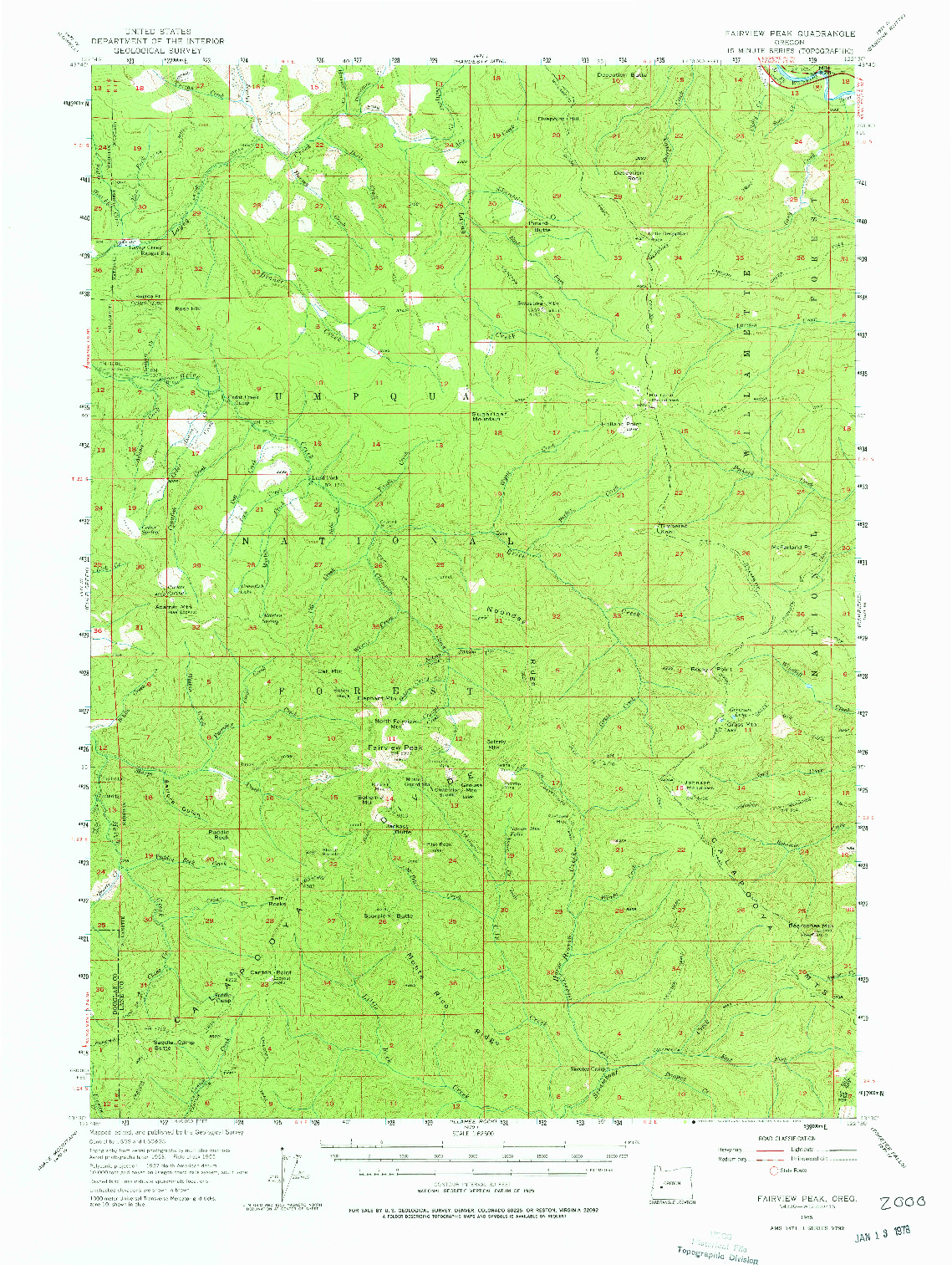 USGS 1:62500-SCALE QUADRANGLE FOR FAIRVIEW PEAK, OR 1955
