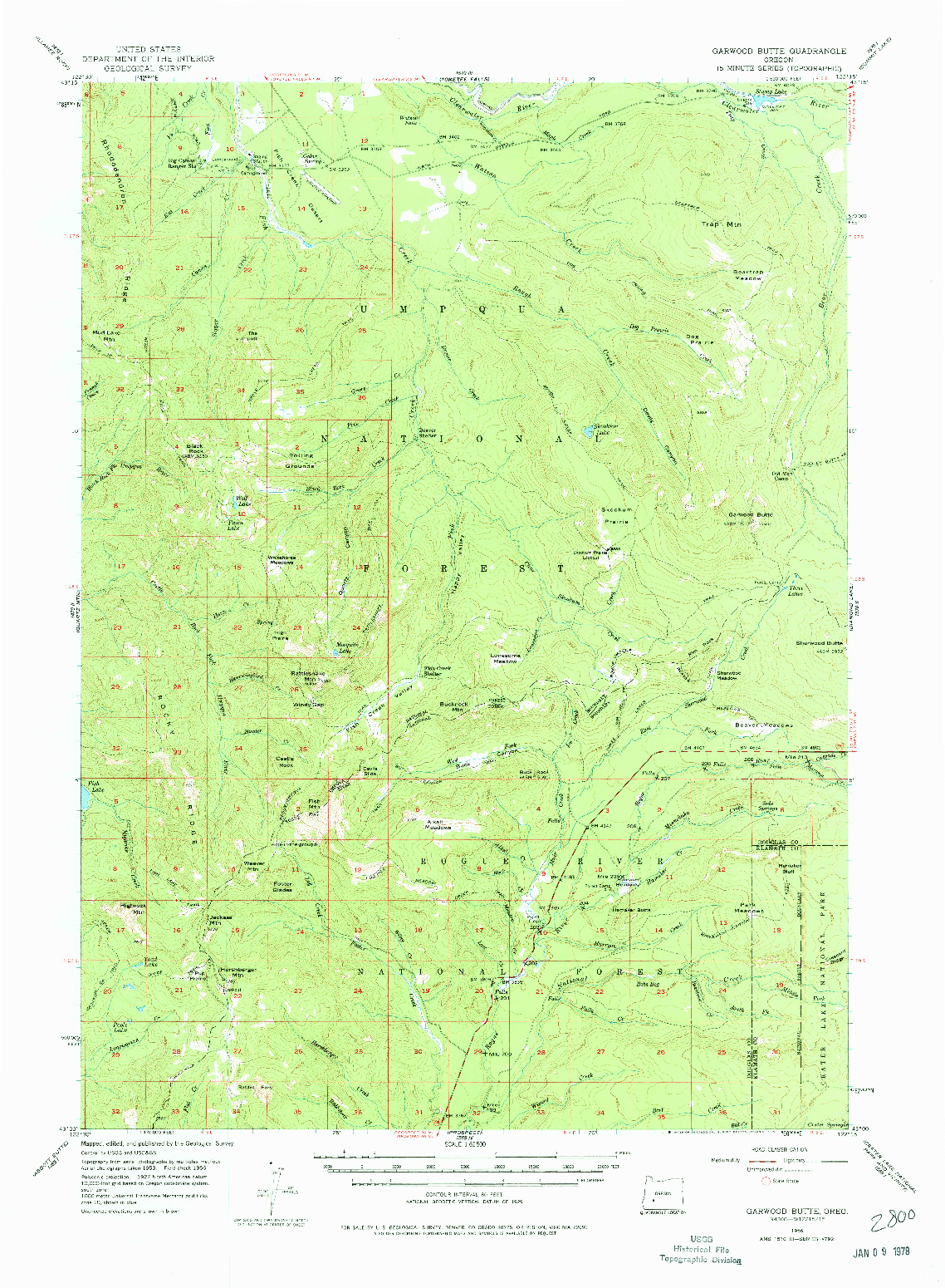 USGS 1:62500-SCALE QUADRANGLE FOR GARWOOD BUTTE, OR 1956