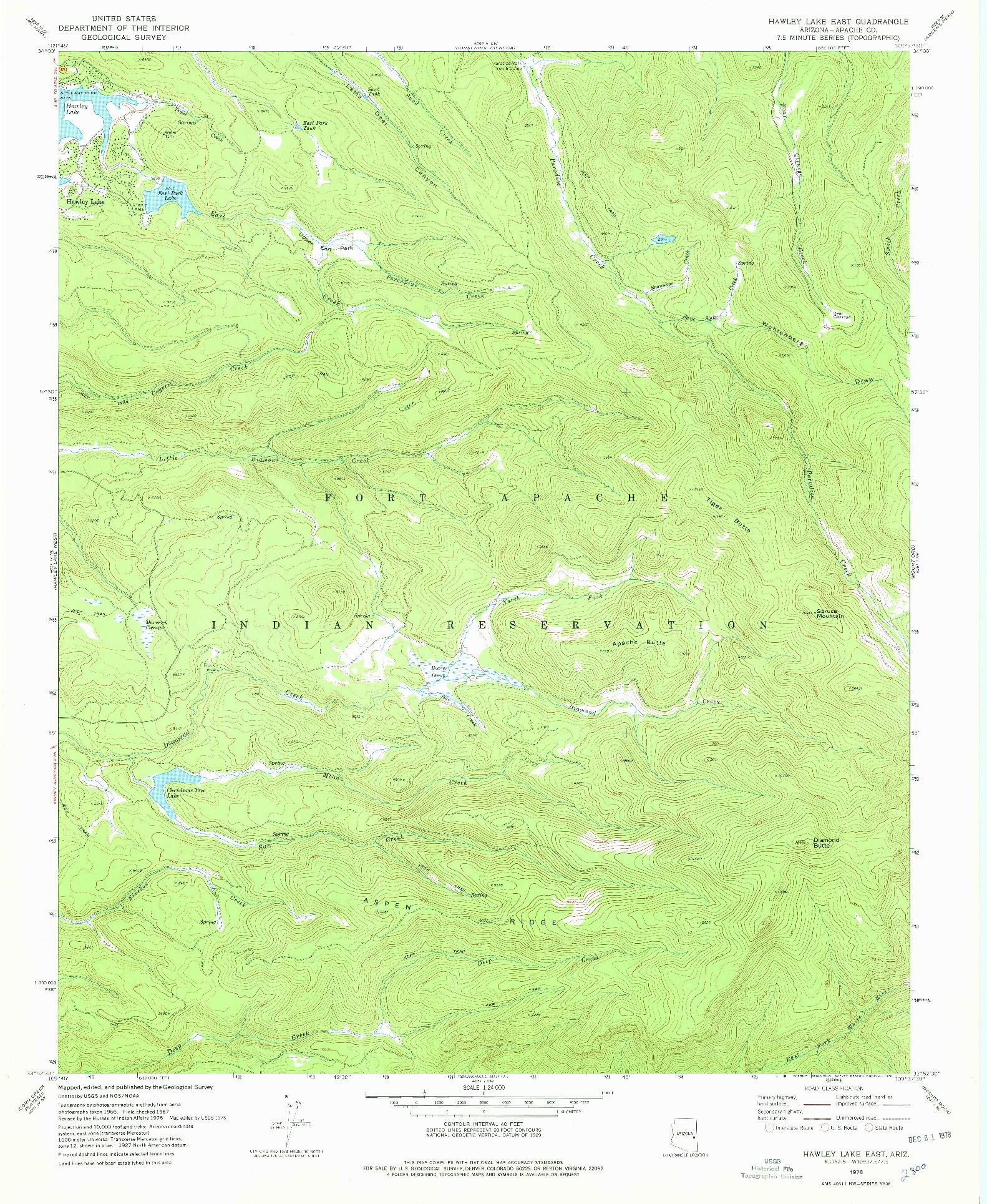 USGS 1:24000-SCALE QUADRANGLE FOR HAWLEY LAKE EAST, AZ 1978