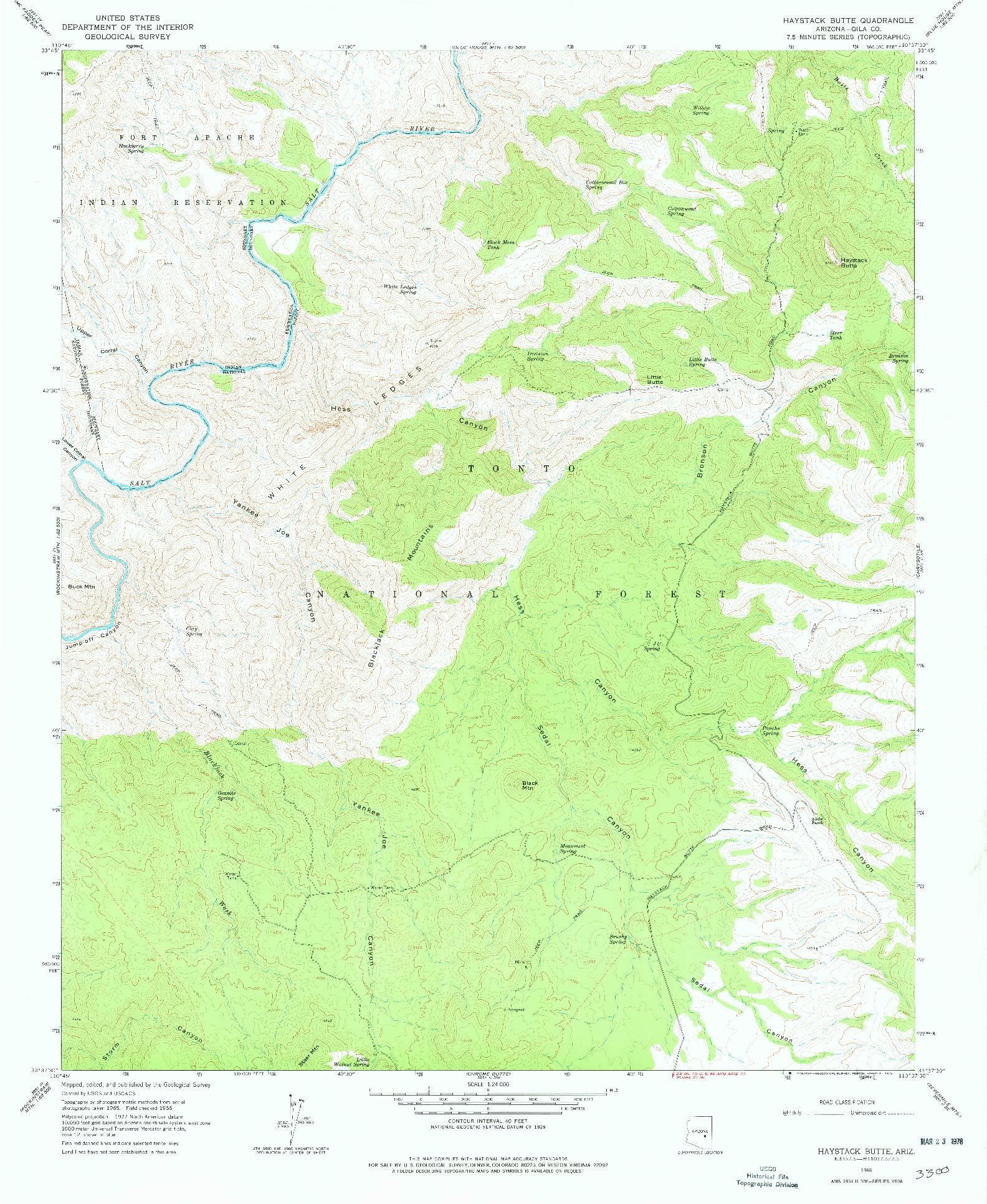USGS 1:24000-SCALE QUADRANGLE FOR HAYSTACK BUTTE, AZ 1966