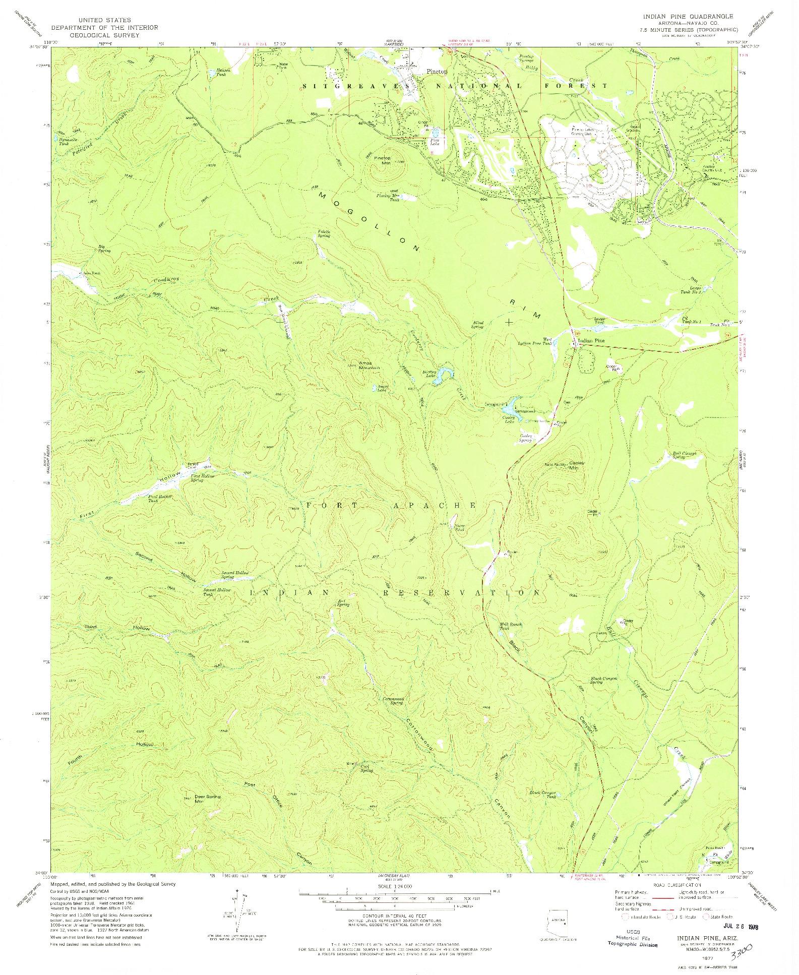 USGS 1:24000-SCALE QUADRANGLE FOR INDIAN PINE, AZ 1977