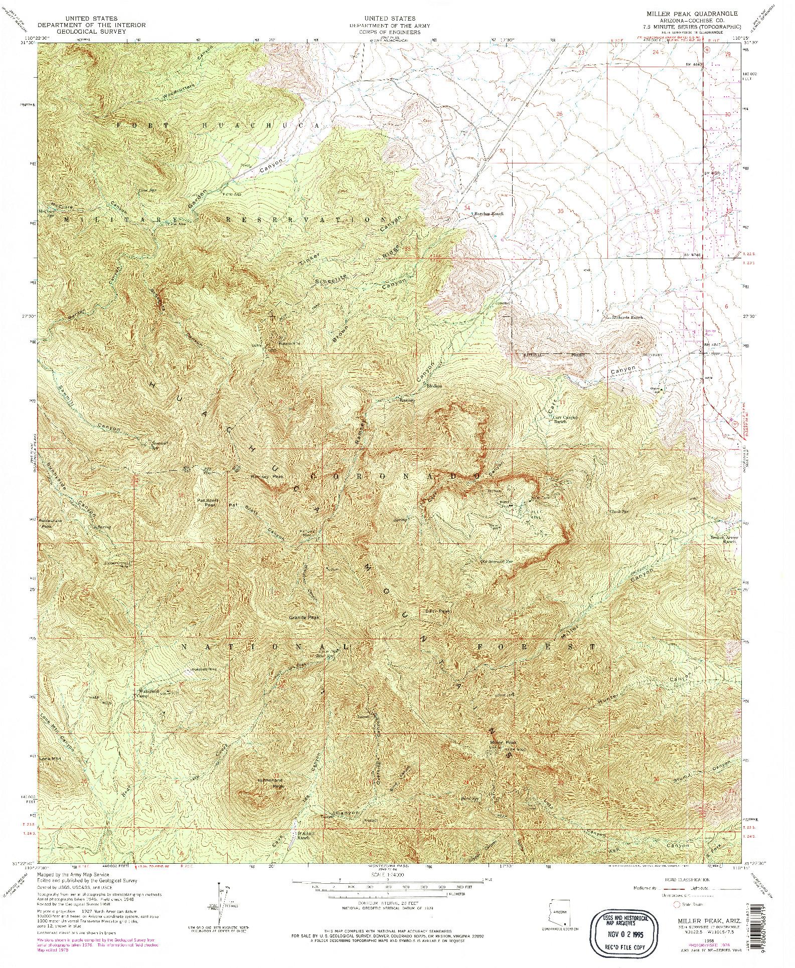 USGS 1:24000-SCALE QUADRANGLE FOR MILLER PEAK, AZ 1958