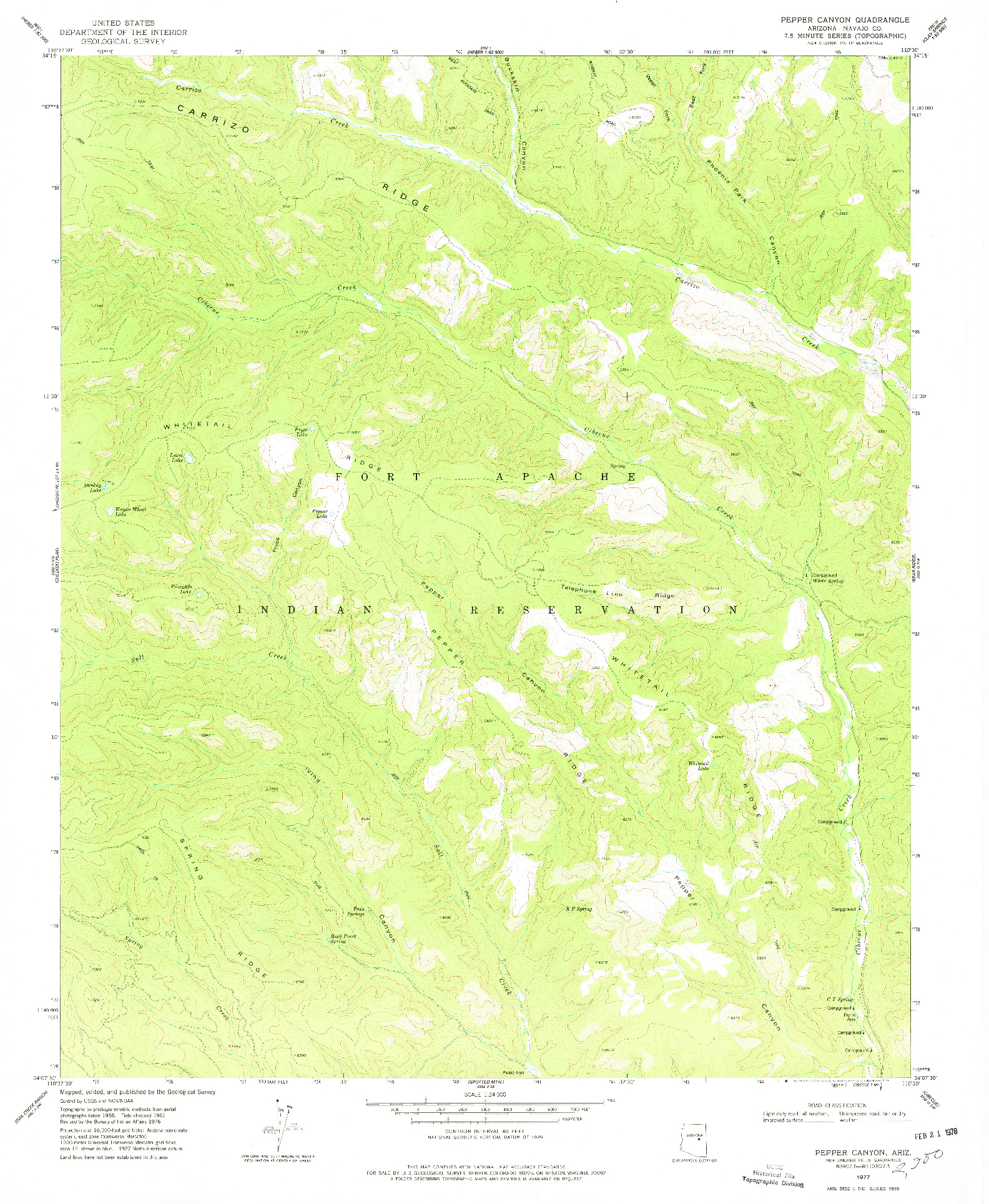 USGS 1:24000-SCALE QUADRANGLE FOR PEPPER CANYON, AZ 1977