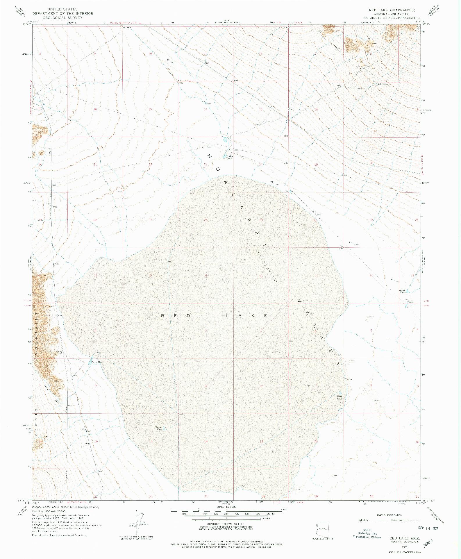 USGS 1:24000-SCALE QUADRANGLE FOR RED LAKE, AZ 1968