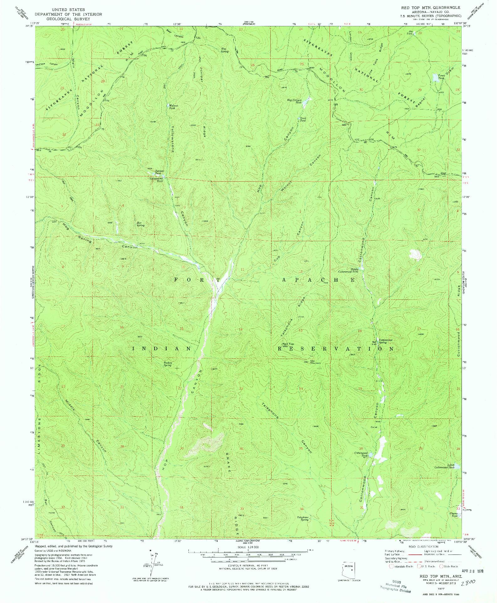 USGS 1:24000-SCALE QUADRANGLE FOR RED TOP MTN., AZ 1977