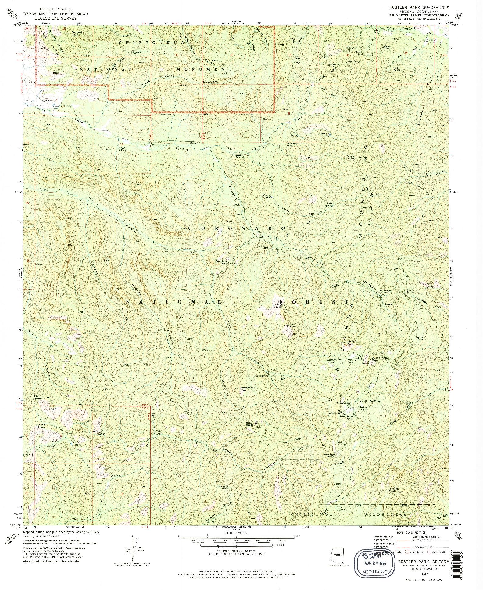 USGS 1:24000-SCALE QUADRANGLE FOR RUSTLER PARK, AZ 1978