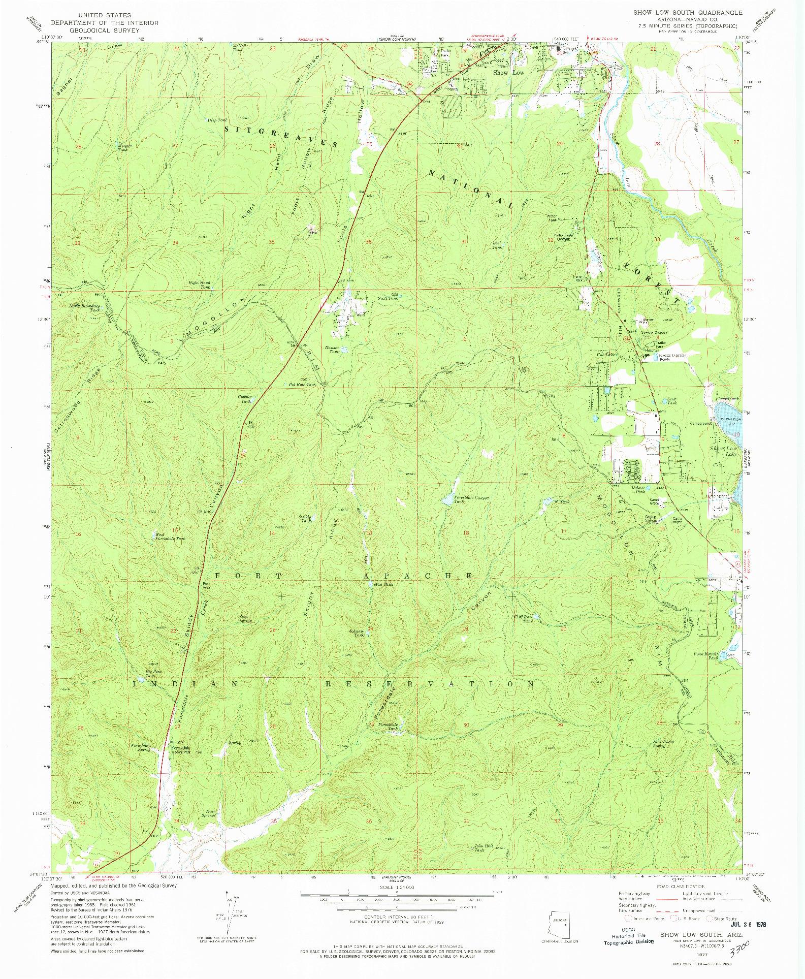 USGS 1:24000-SCALE QUADRANGLE FOR SHOW LOW SOUTH, AZ 1977